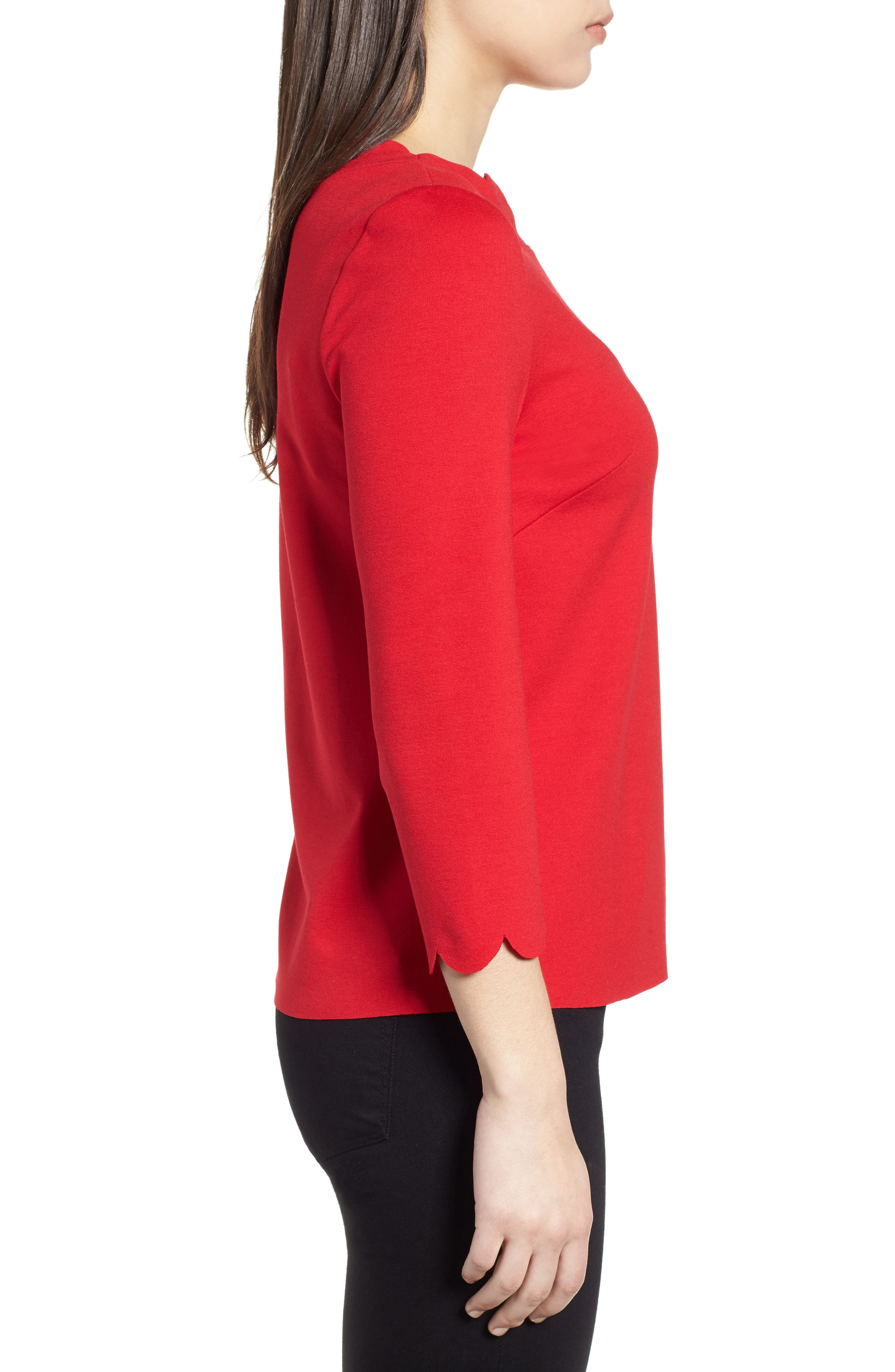 Ponte Scallop Top,                             Alternate thumbnail 3, color,                             Red