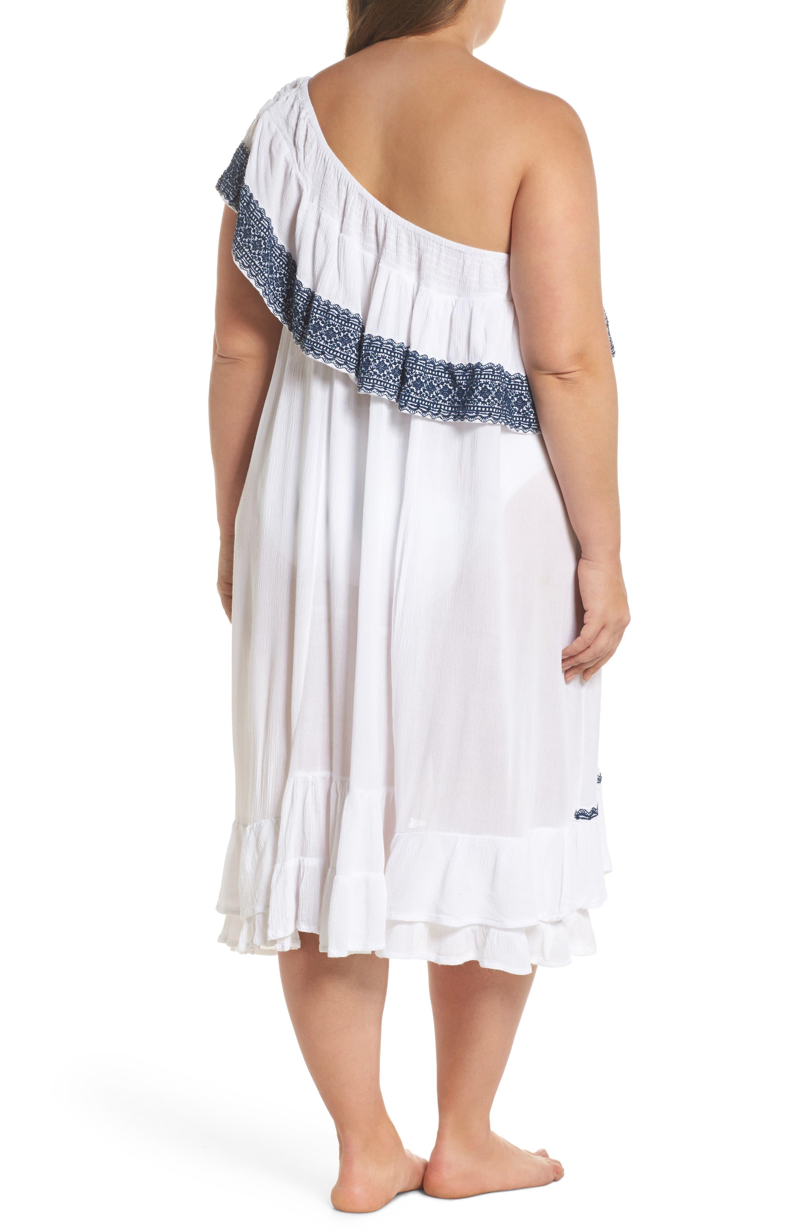 Gavin One-Shoulder Cover-Up Dress,                             Alternate thumbnail 2, color,                             White/ Navy