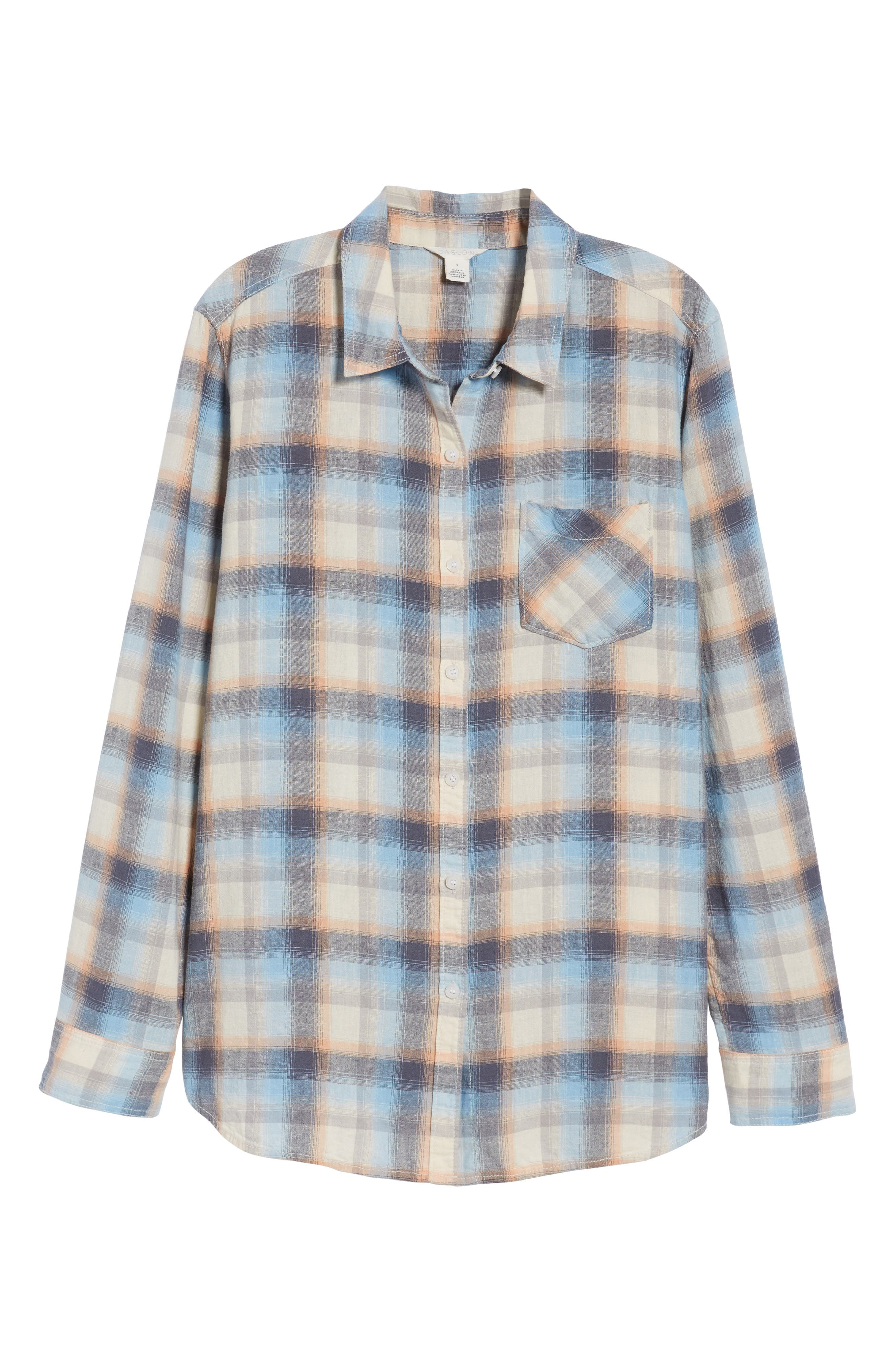 Alternate Image 6  - Caslon® Plaid Linen Blend Shirt
