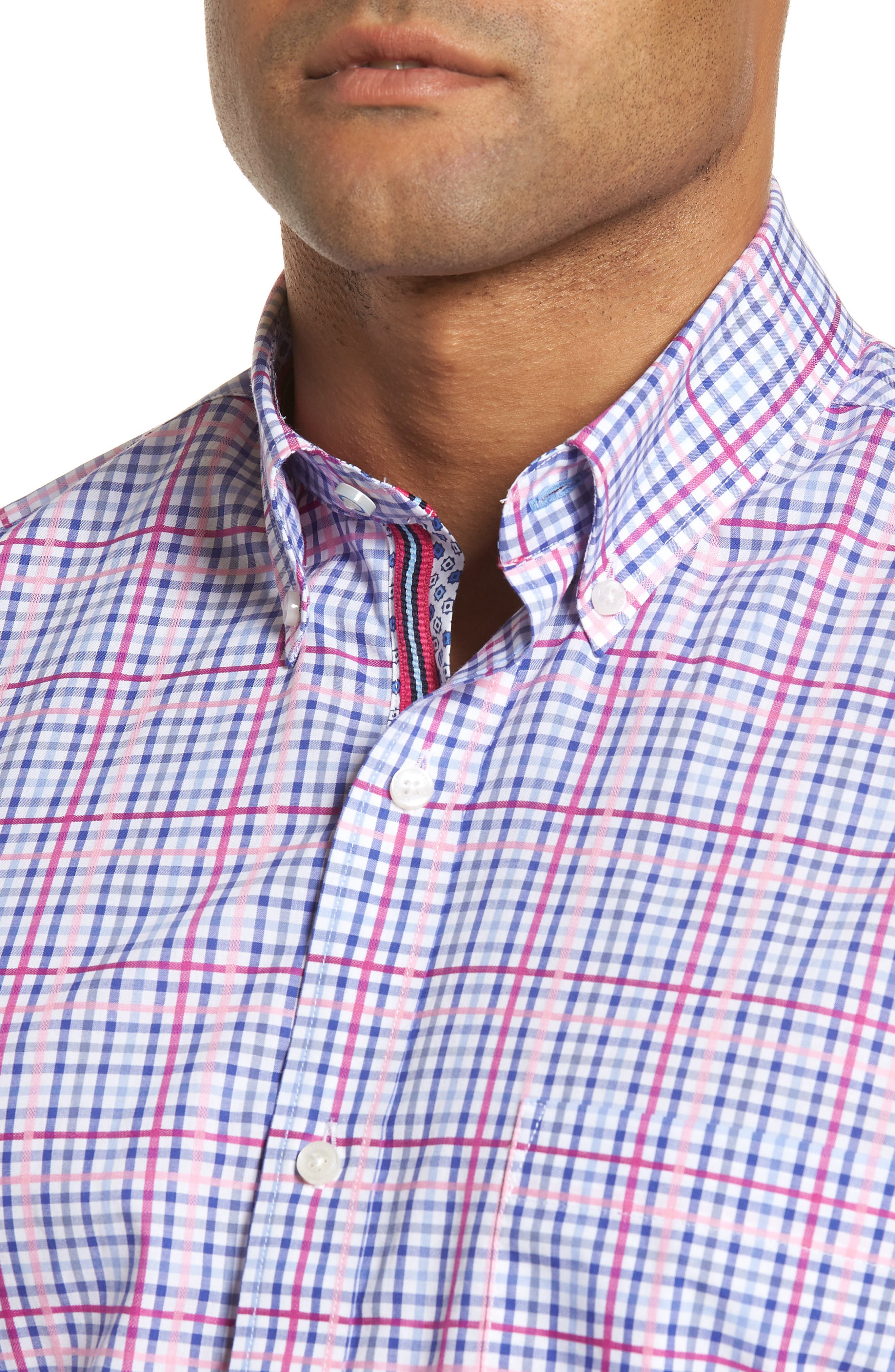 Ale Regular Fit Check Sport Shirt,                             Alternate thumbnail 4, color,                             Pink