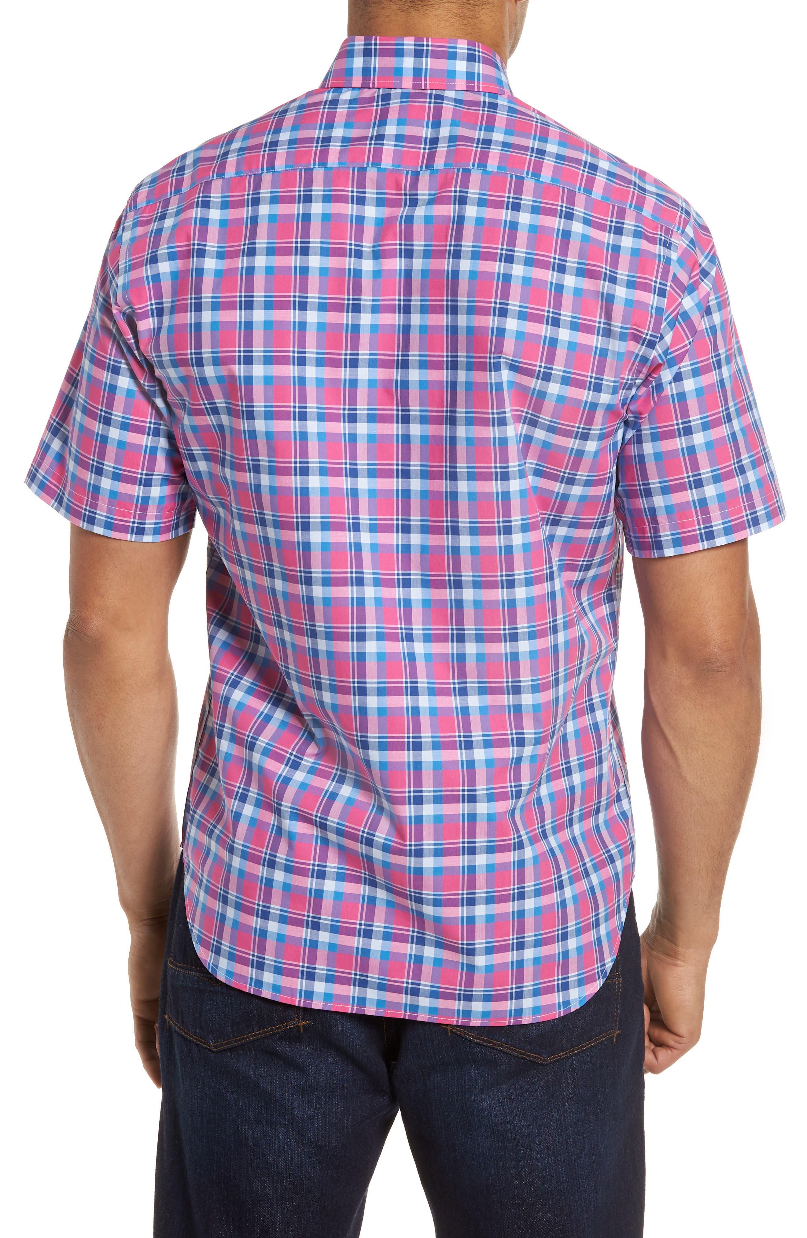 Sloane Regular Fit Plaid Sport Shirt,                             Alternate thumbnail 2, color,                             Pink