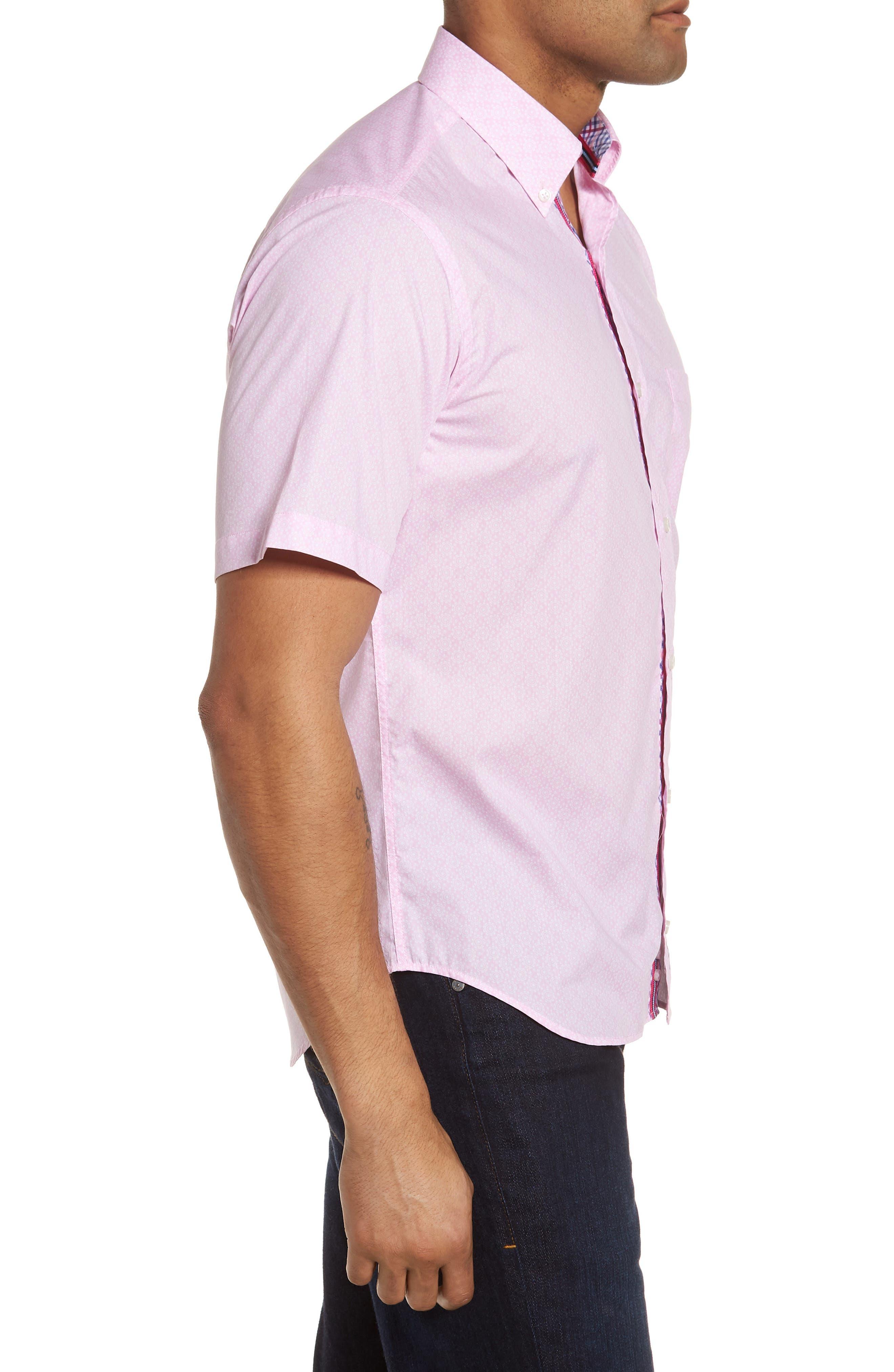 Napolean Regular Fit Medallion Sport Shirt,                             Alternate thumbnail 3, color,                             Pink