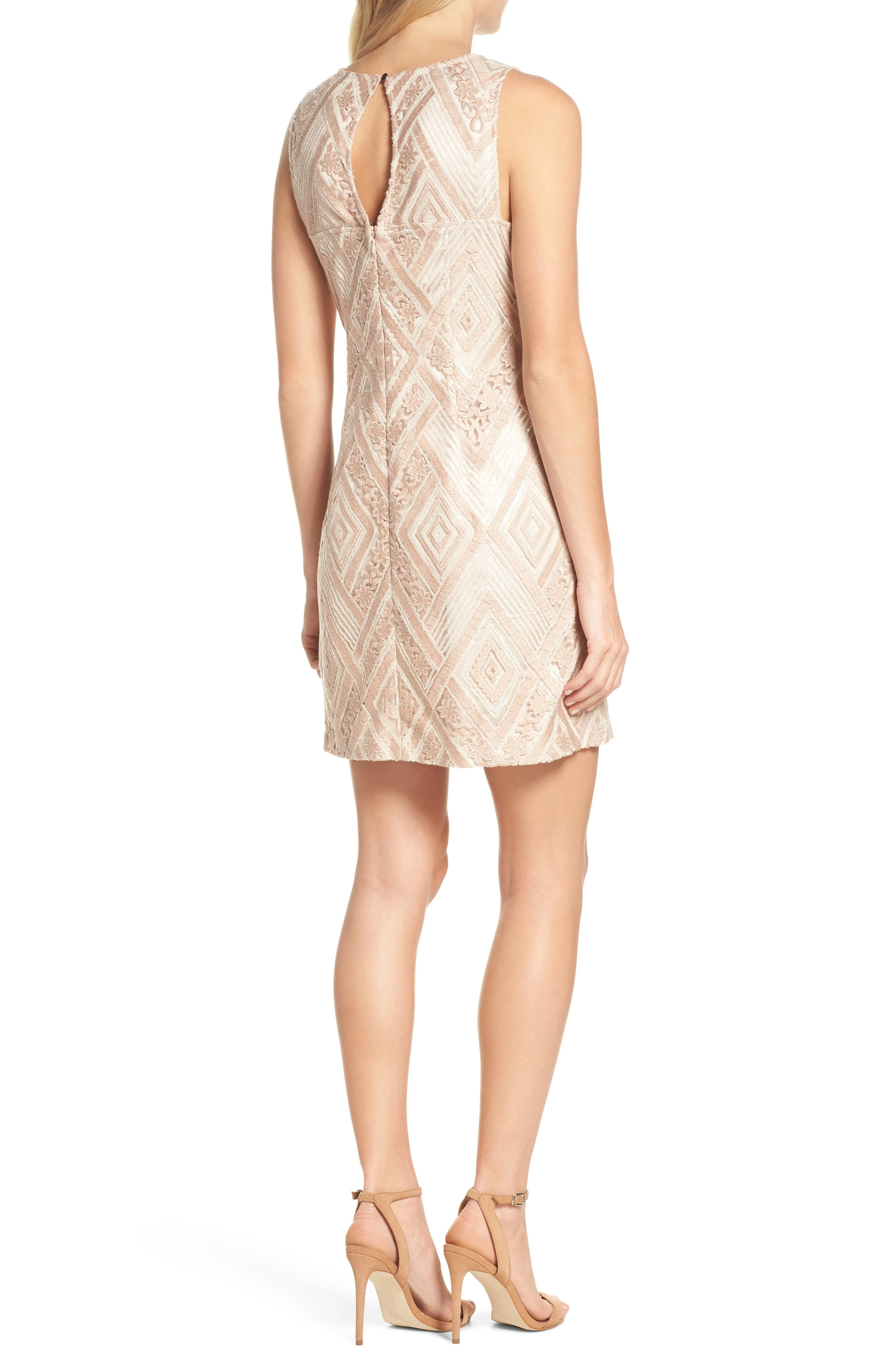 Sequin Embroidered Sheath Dress,                             Alternate thumbnail 2, color,                             Blush