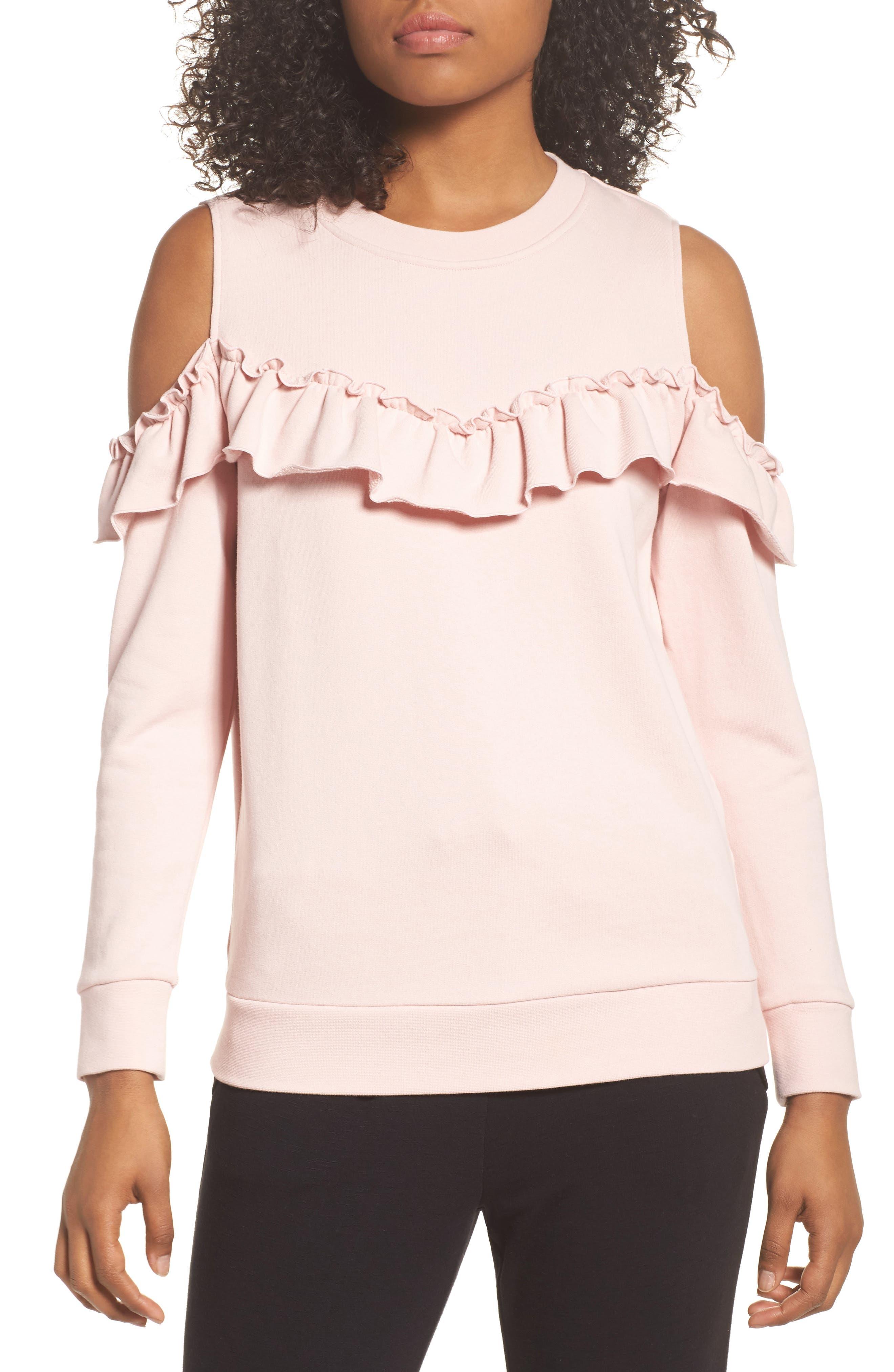 cold shoulder sweatshirt,                         Main,                         color, Blusher