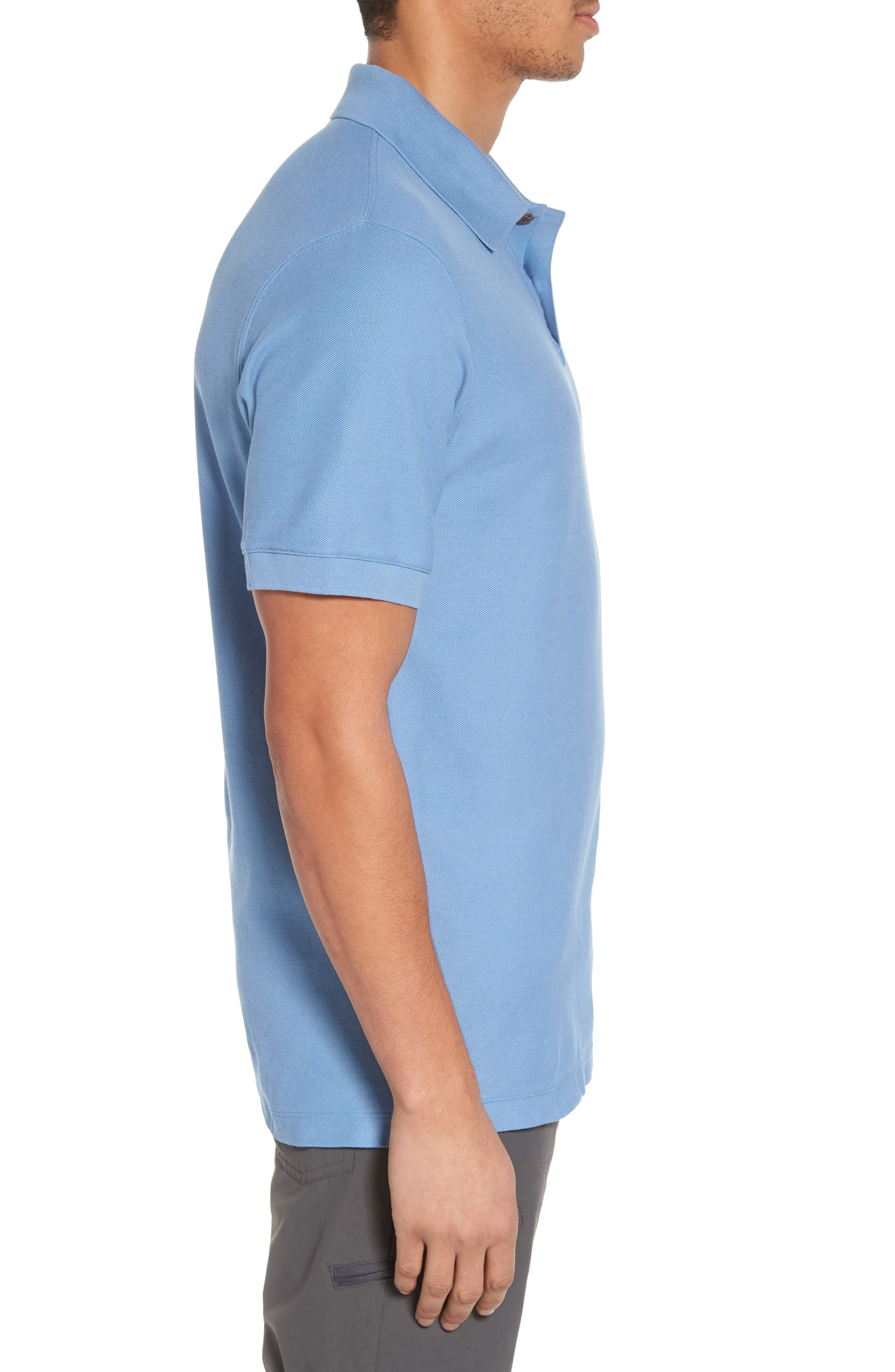 Belwe Relaxed Fit Piqué Polo,                             Alternate thumbnail 3, color,                             Railroad Blue