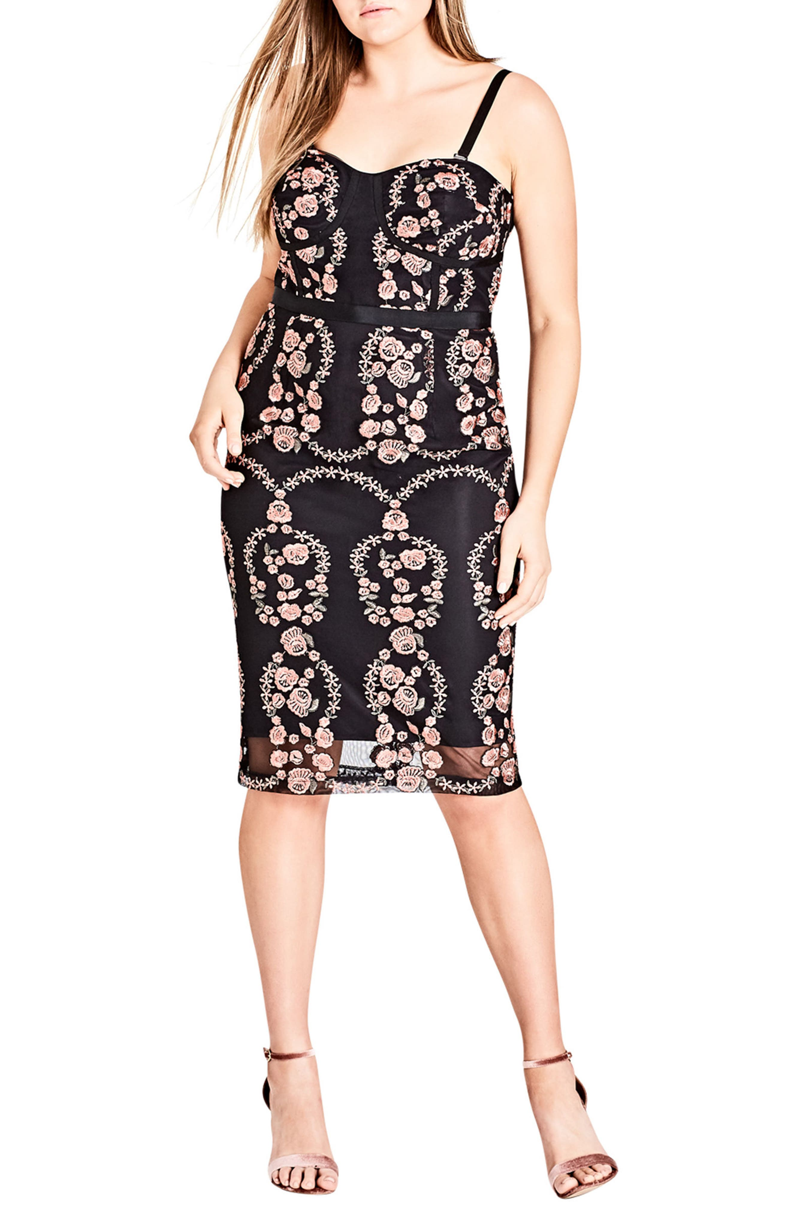City Chic Dolce Rose Embroidered Corset Dress (Plus Size)