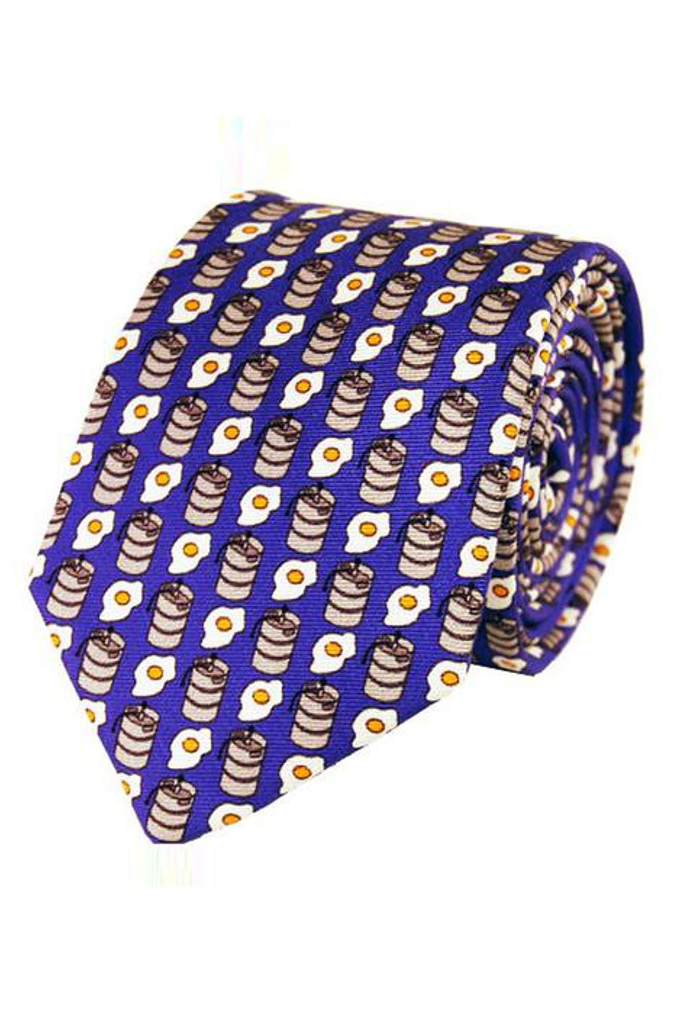 Kegs & Eggs Silk Tie,                             Main thumbnail 1, color,                             Blue