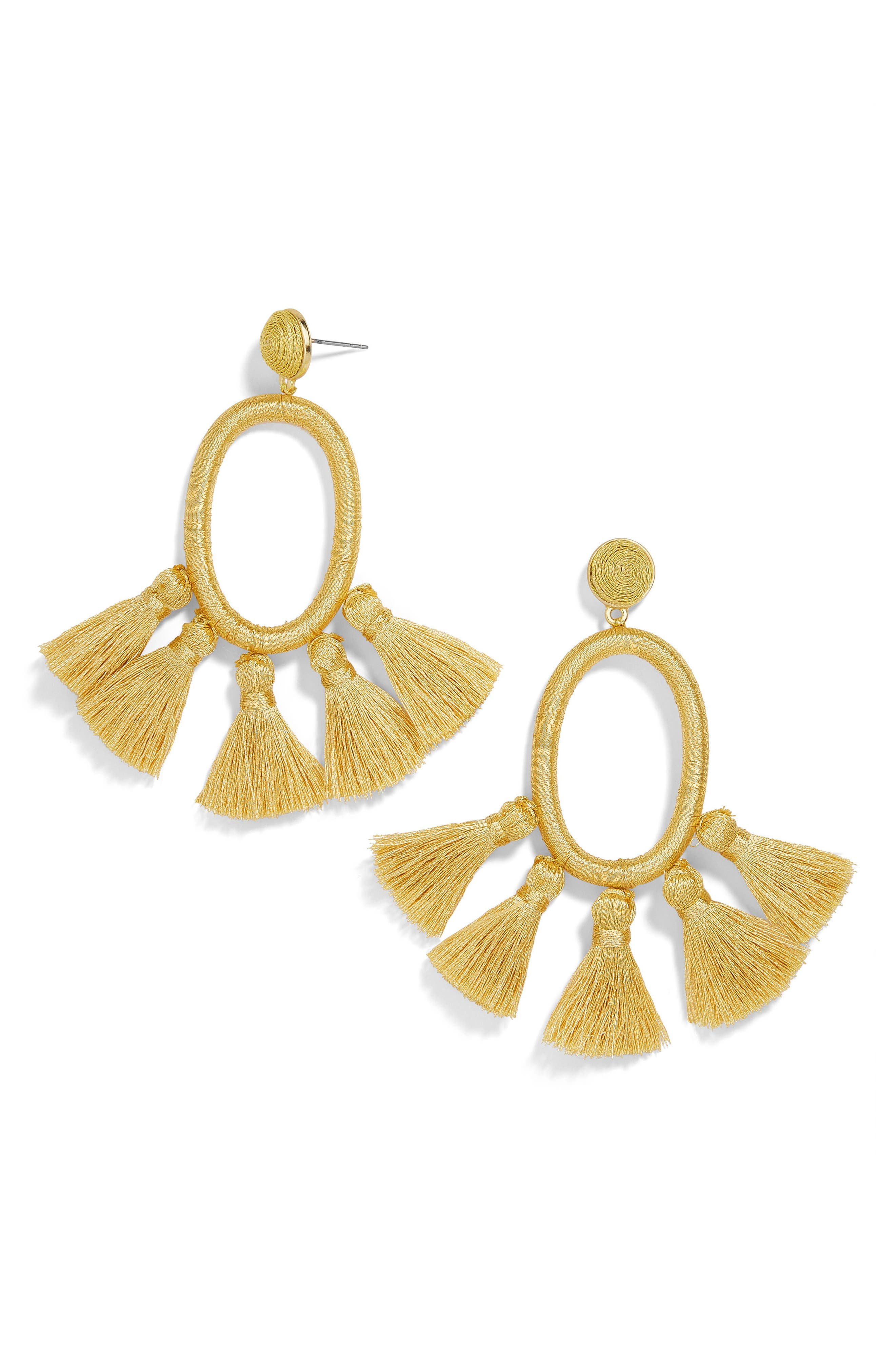 BaubleBar Tassel Oval Hoop Earrings