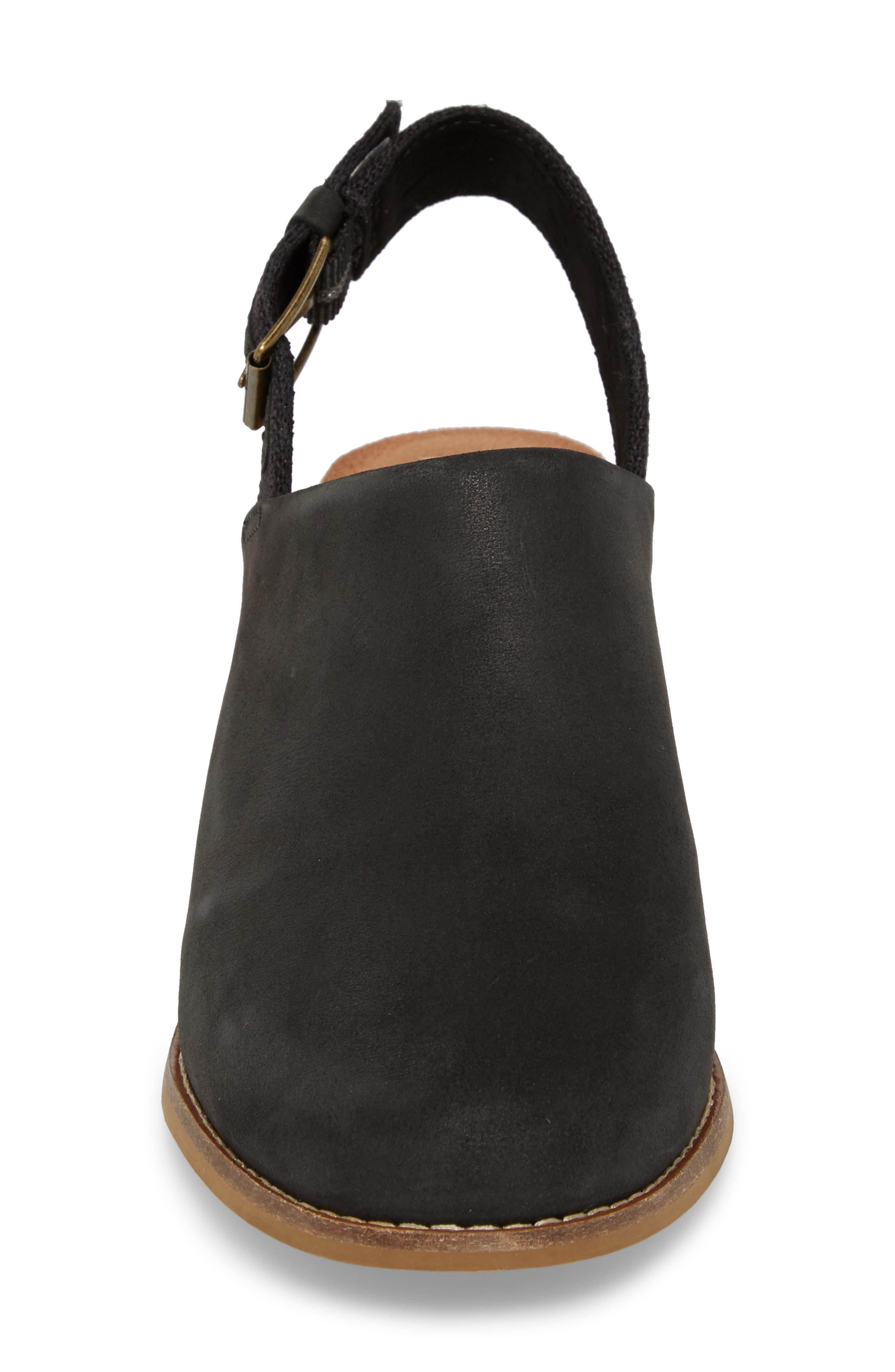 Leila Slingback Sandal,                             Alternate thumbnail 4, color,                             Black Leather