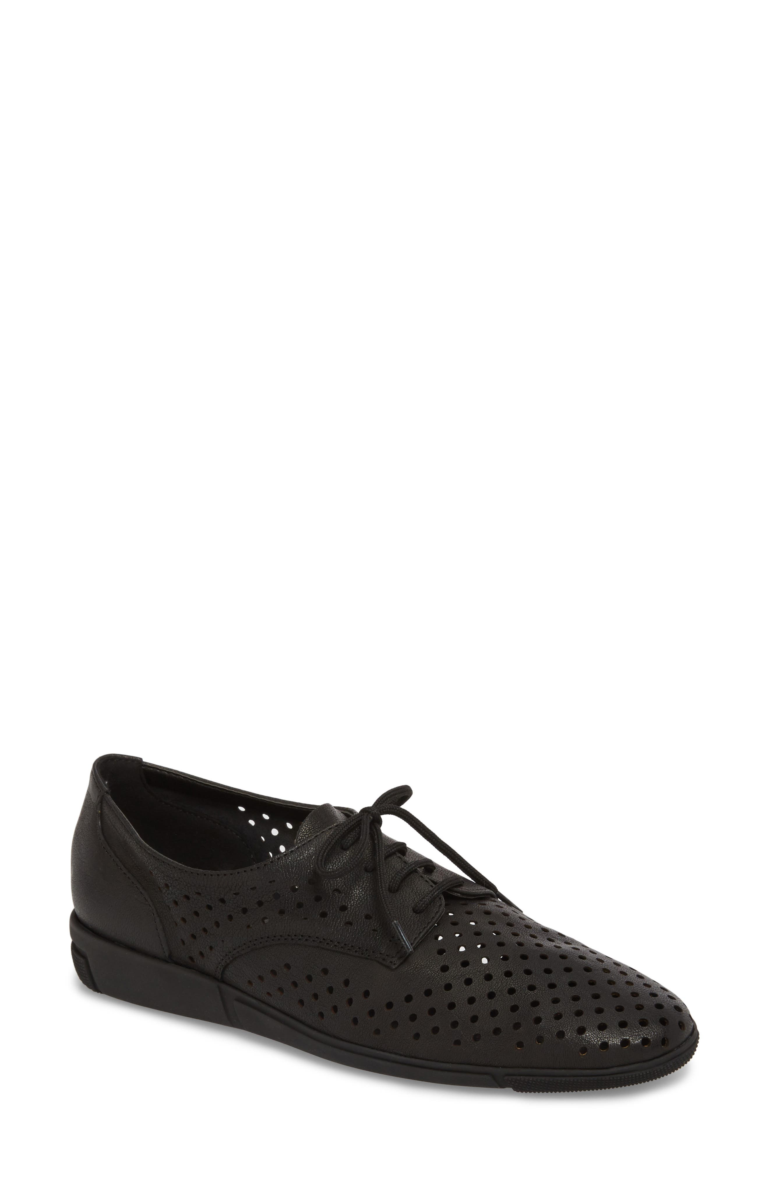 Dirce Perforated Oxford Flat,                             Main thumbnail 1, color,                             Black Leather