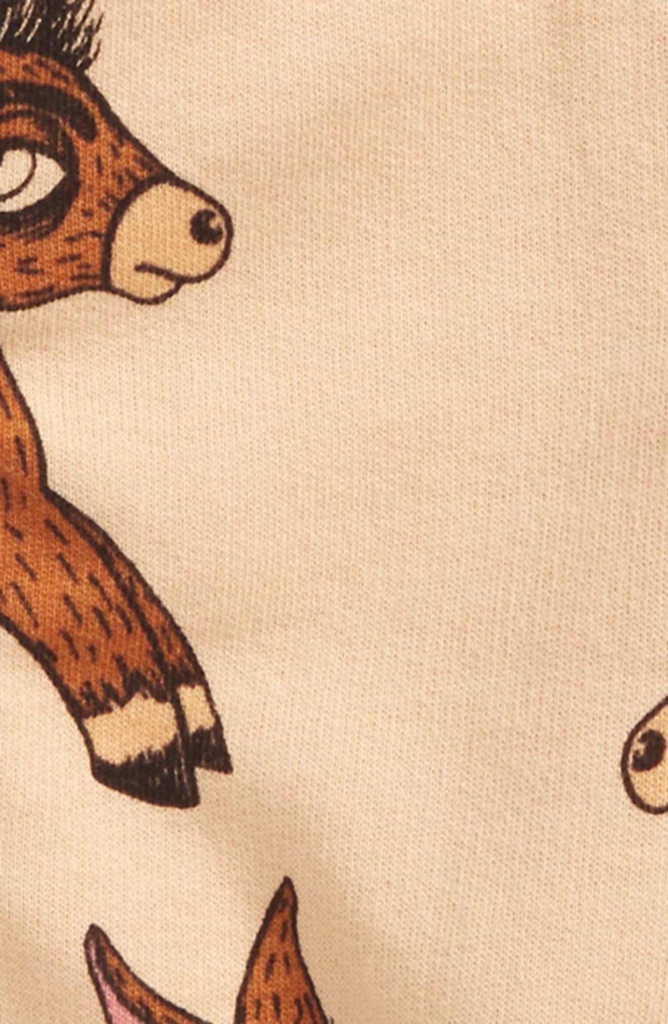 Donkey Print Organic Cotton Zip Hoodie,                             Alternate thumbnail 2, color,                             Beige