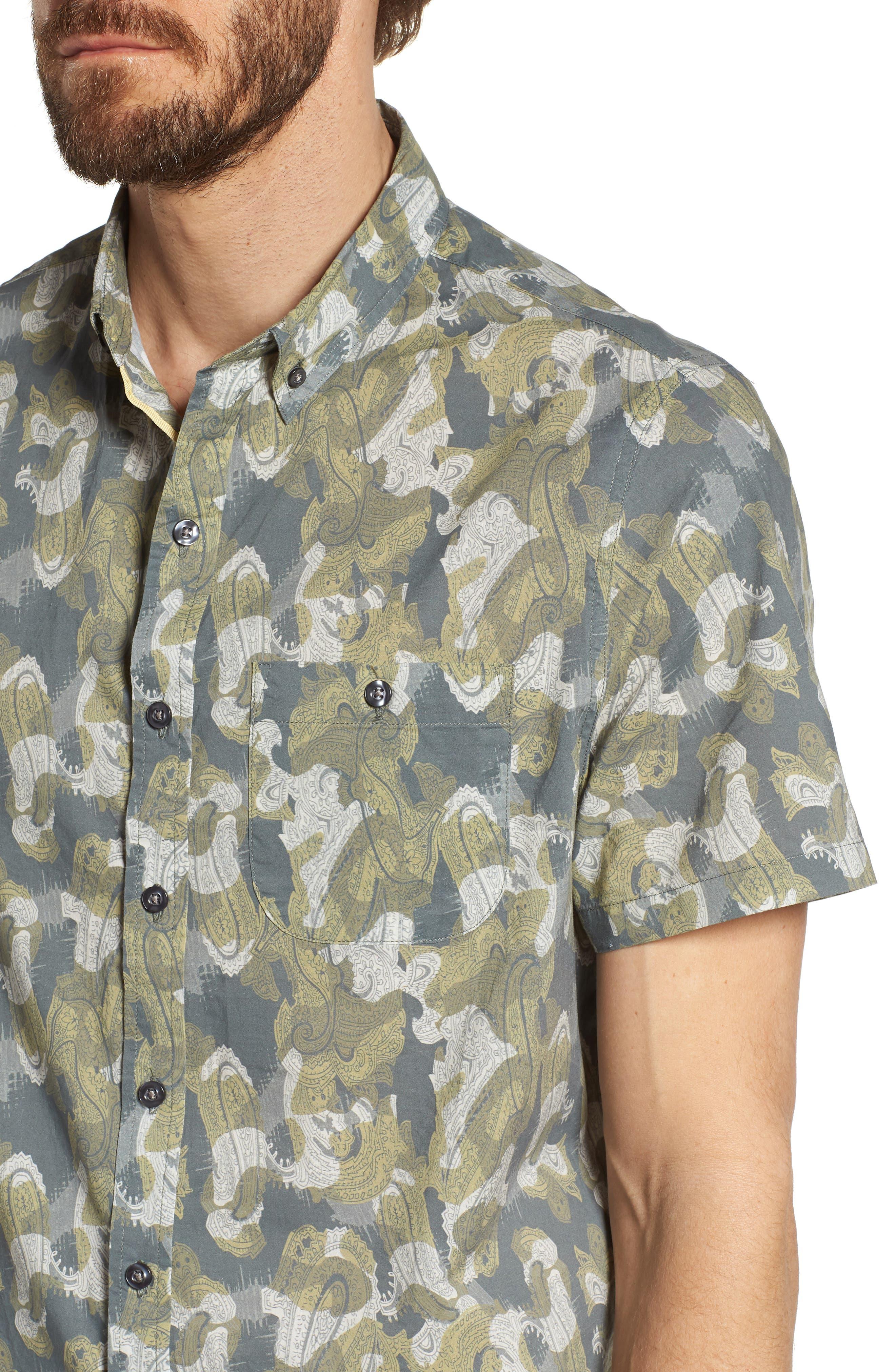 Paisley Print Short Sleeve Sport Shirt,                             Alternate thumbnail 4, color,                             Seahorse Paisley Print