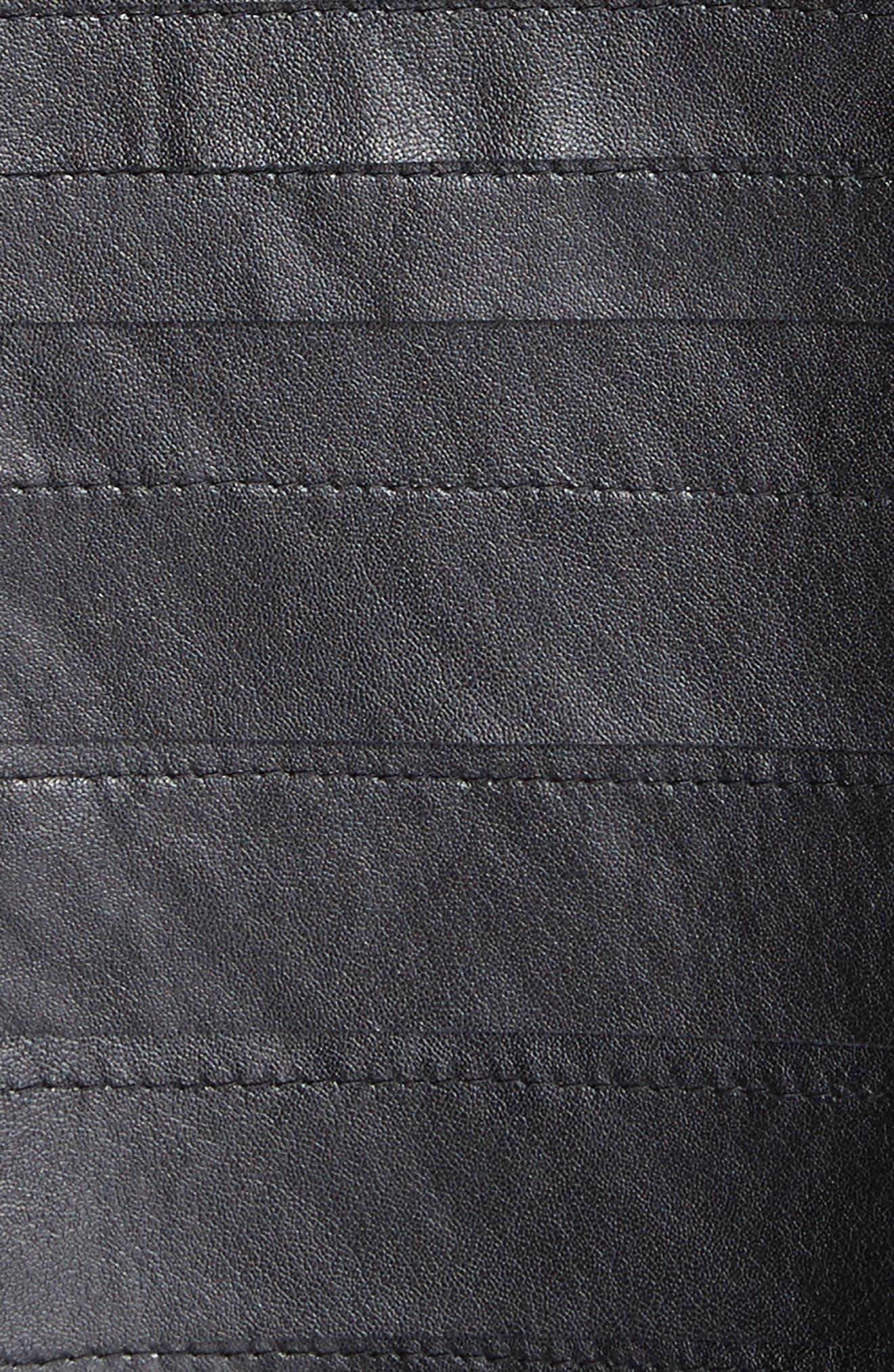 Ribbon Faux Leather Jacket,                             Alternate thumbnail 6, color,                             Black