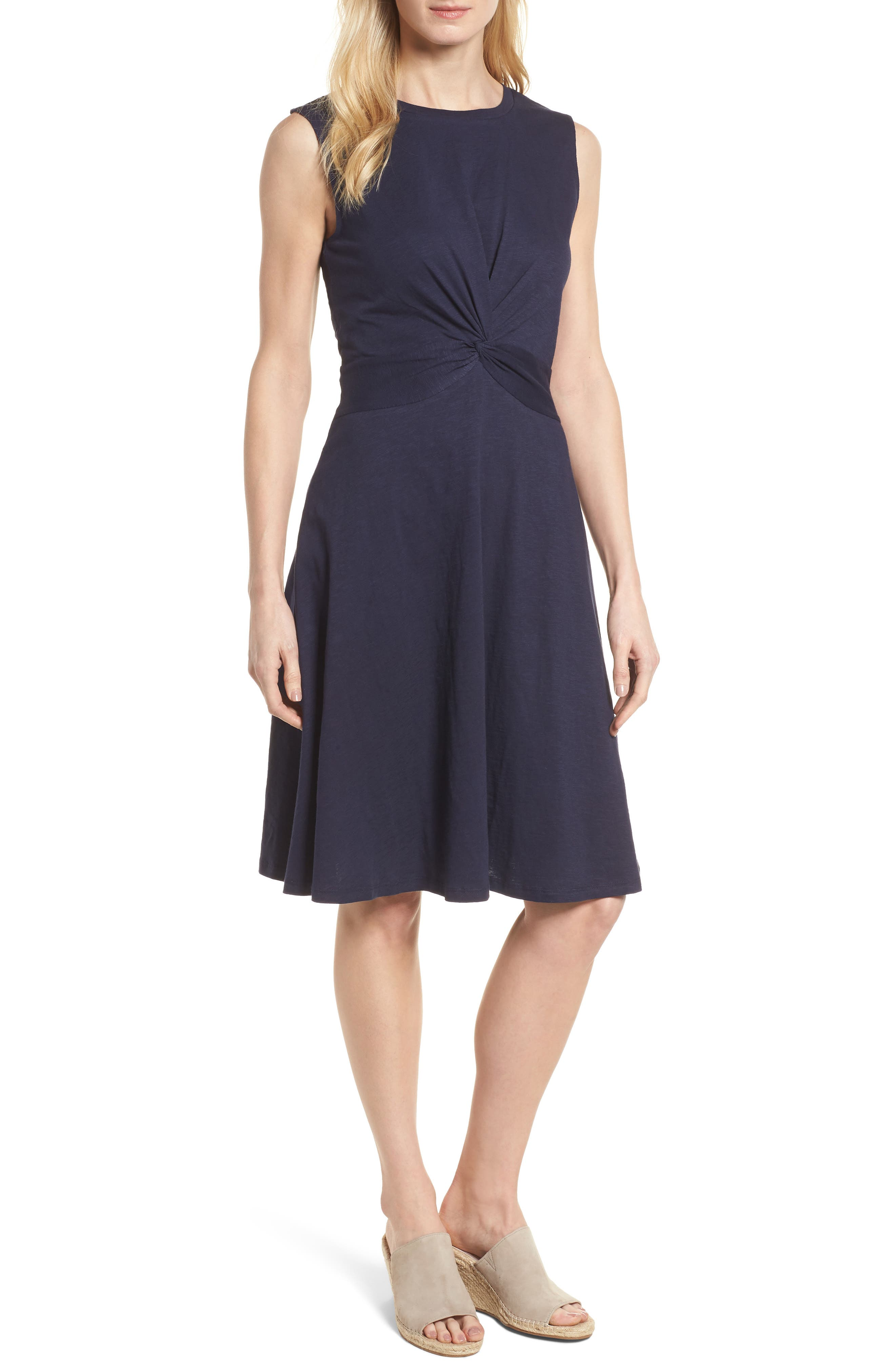 Twist Front Knit Dress,                             Main thumbnail 1, color,                             Navy Peacoat