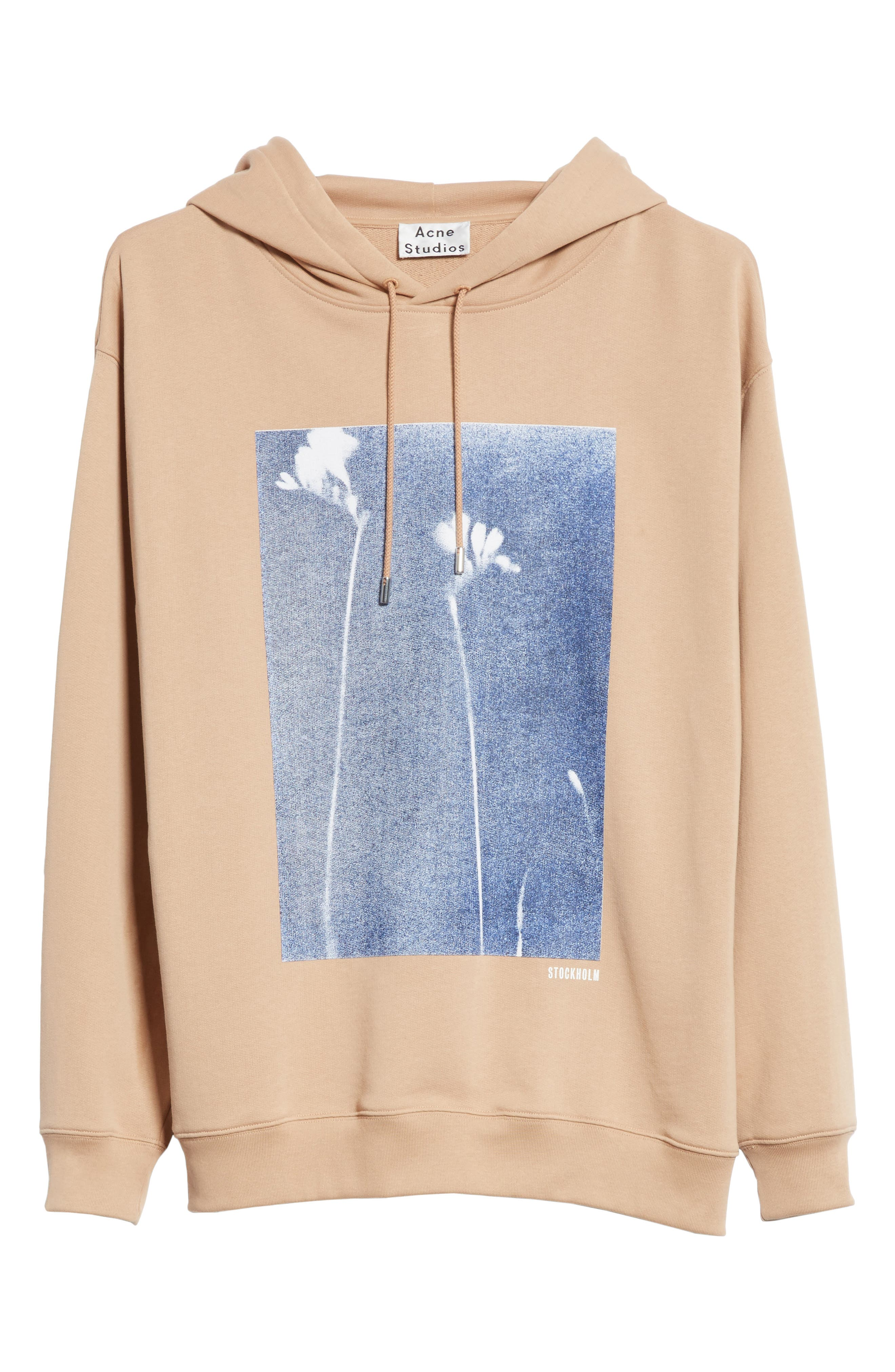 Fala Print Oversized Hoodie,                             Alternate thumbnail 6, color,                             Beige