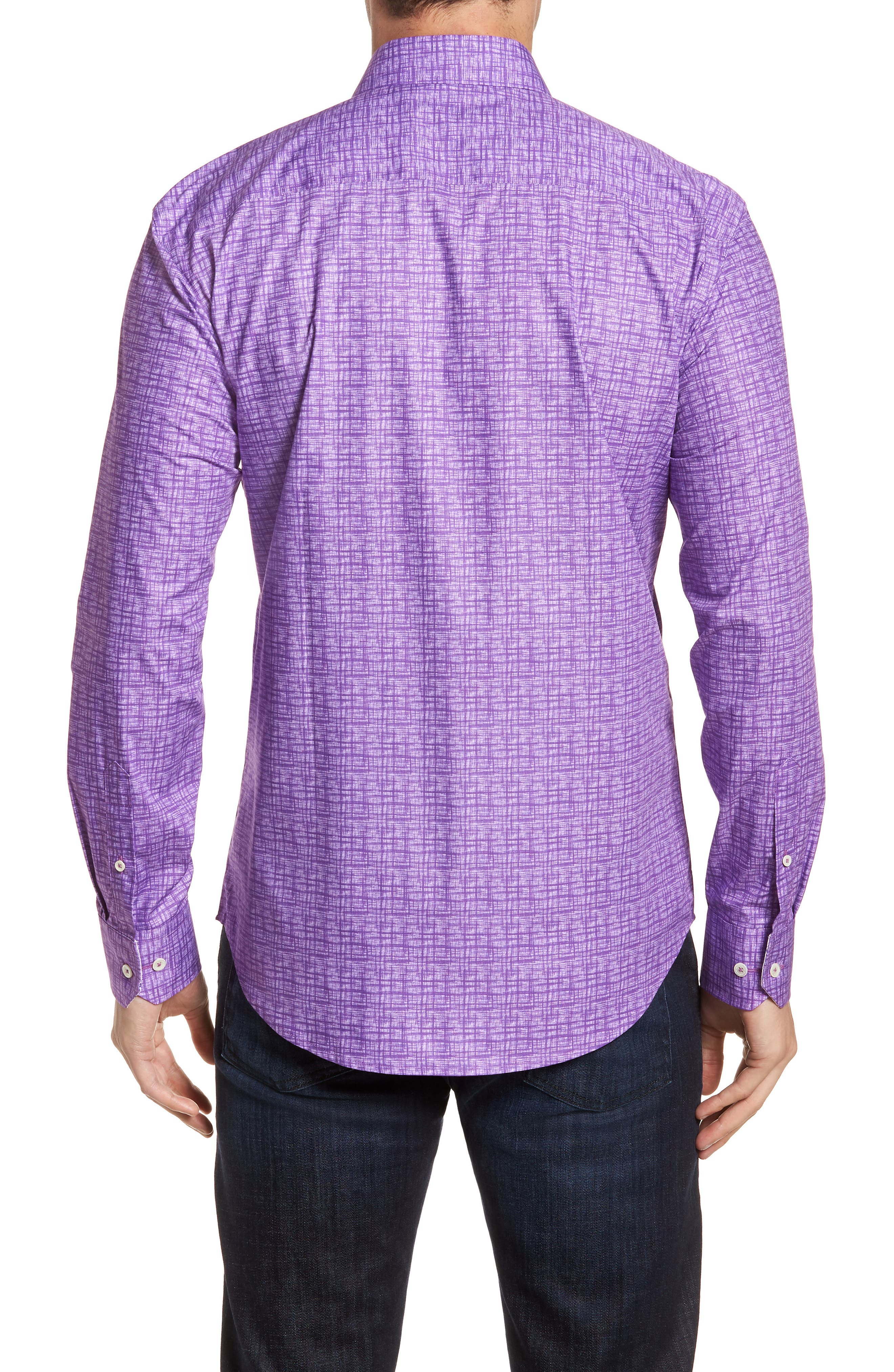 Freehand Shaped Fit Sport Shirt,                             Alternate thumbnail 3, color,                             Orchid