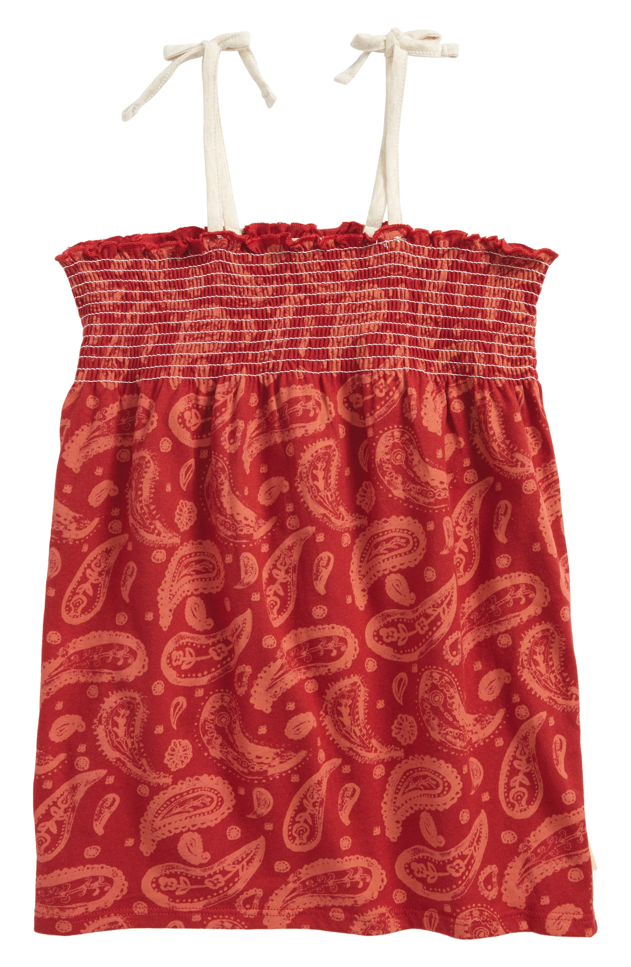 Paisley Organic Cotton Sleeveless Top,                         Main,                         color, Red Barn