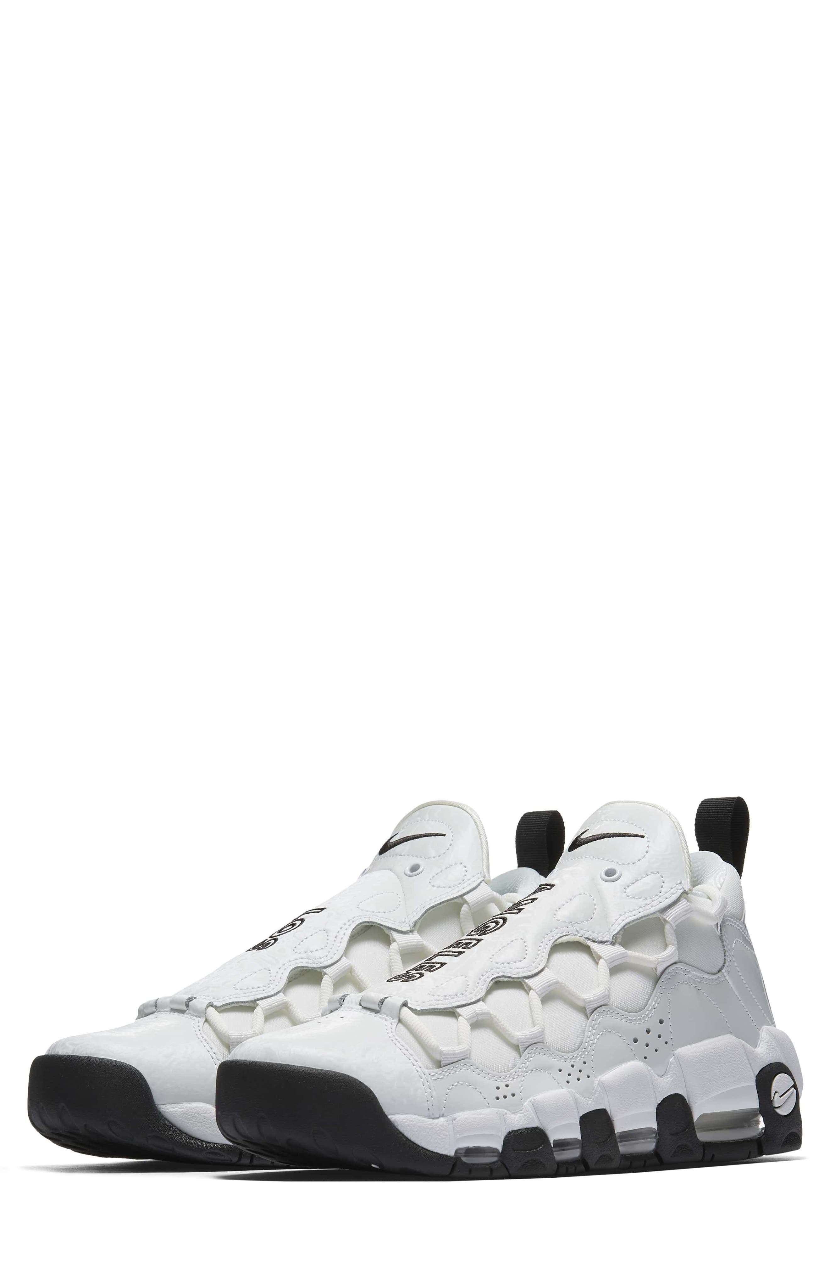 Air More Money LX Sneaker,                         Main,                         color, Summit White/ Black