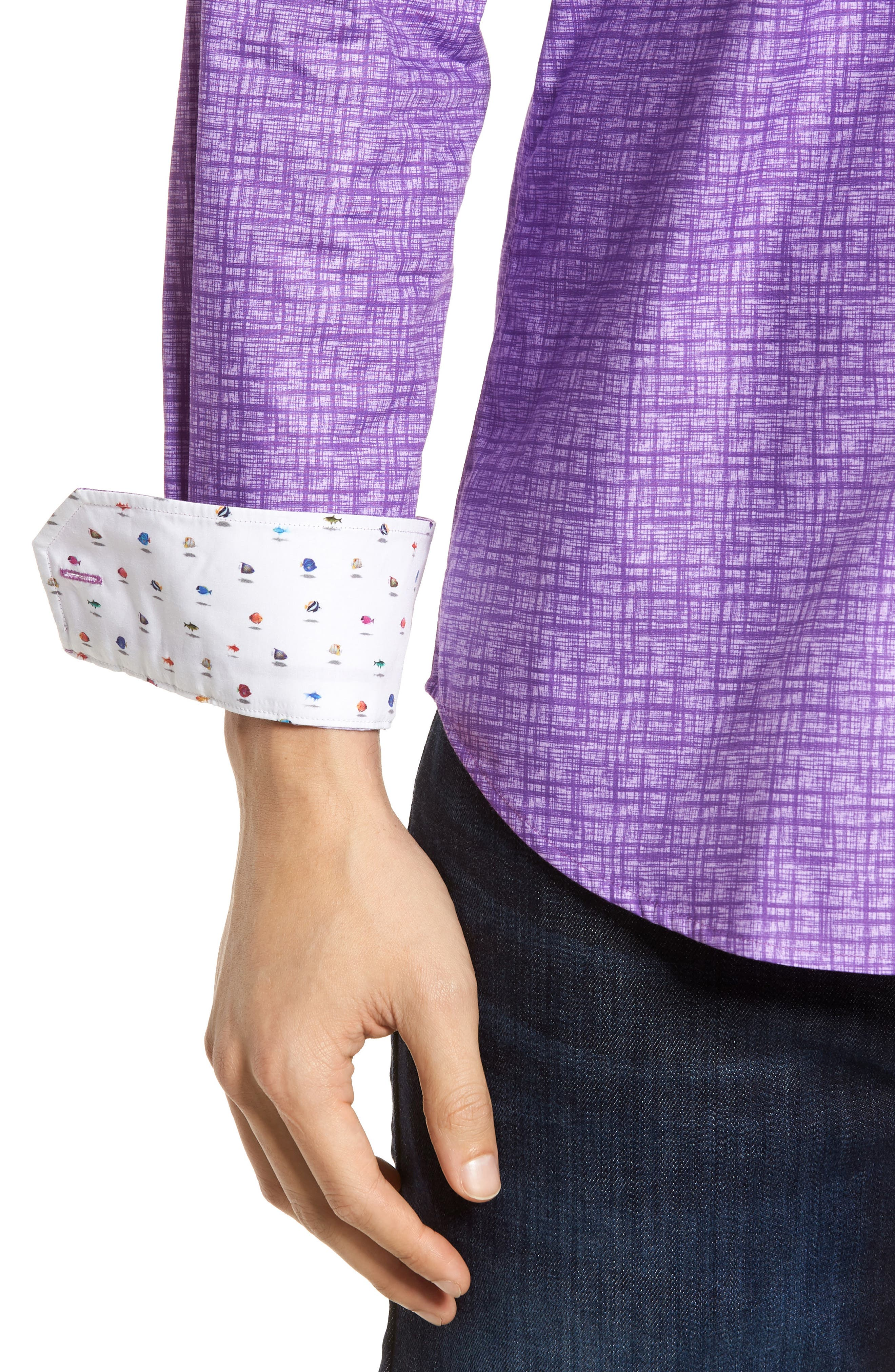 Freehand Shaped Fit Sport Shirt,                             Alternate thumbnail 2, color,                             Orchid