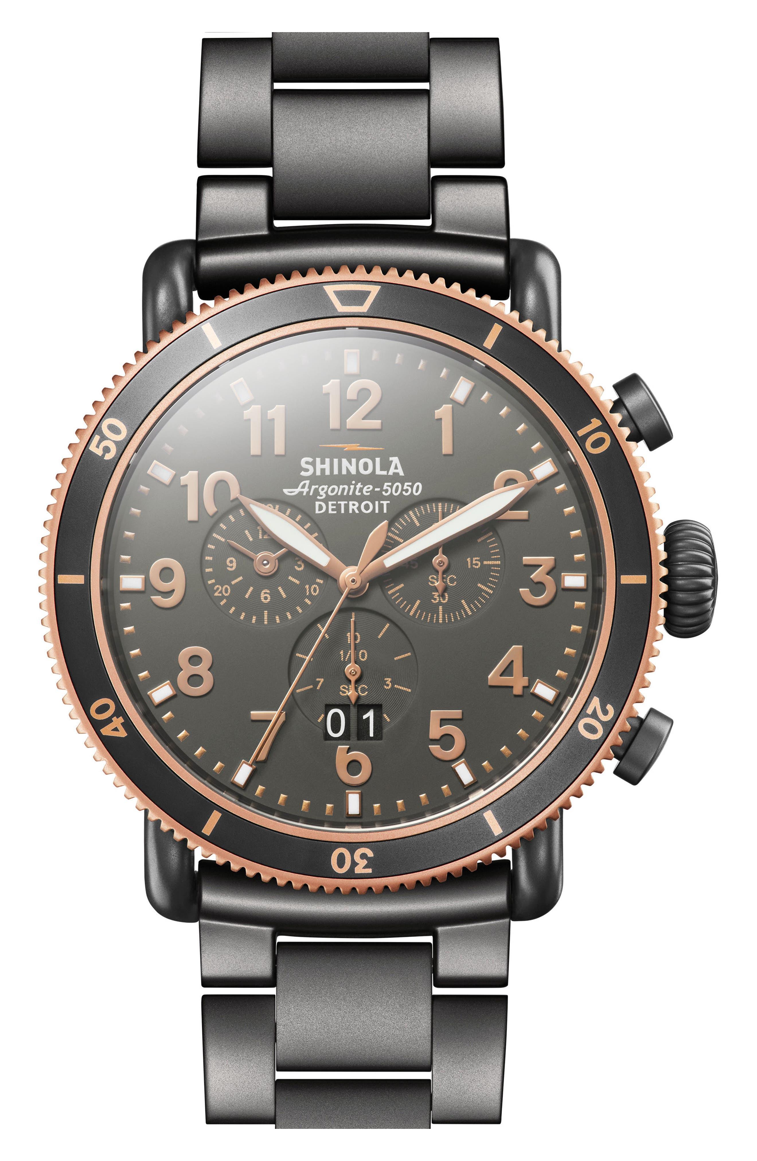 The Runwell Chronograph Bracelet Watch, 48mm,                             Main thumbnail 1, color,                             Gunmetal/ Stone/ Gunmetal