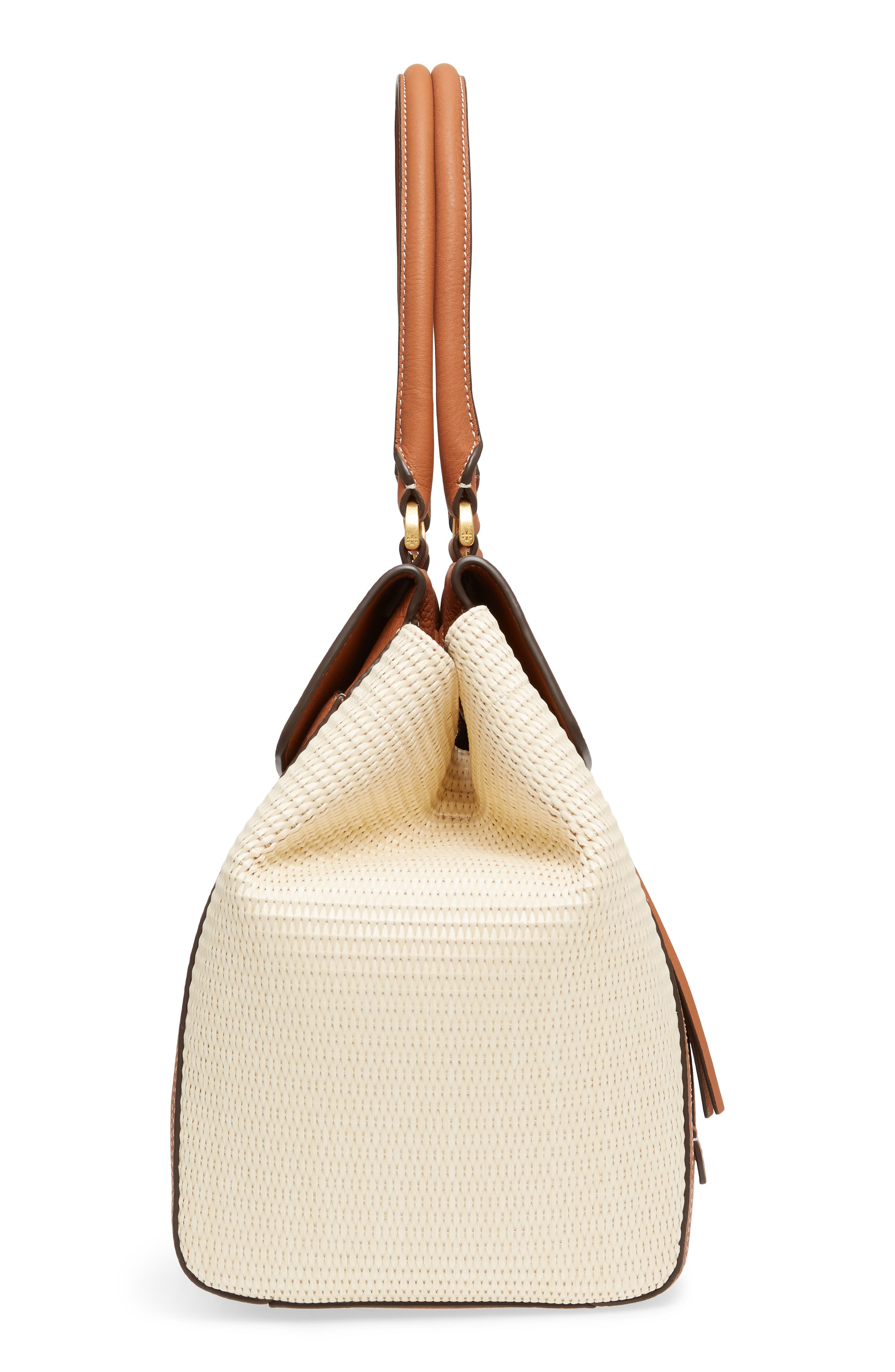Half-Moon Straw & Leather Tote,                             Alternate thumbnail 5, color,                             Natural / Classic Tan