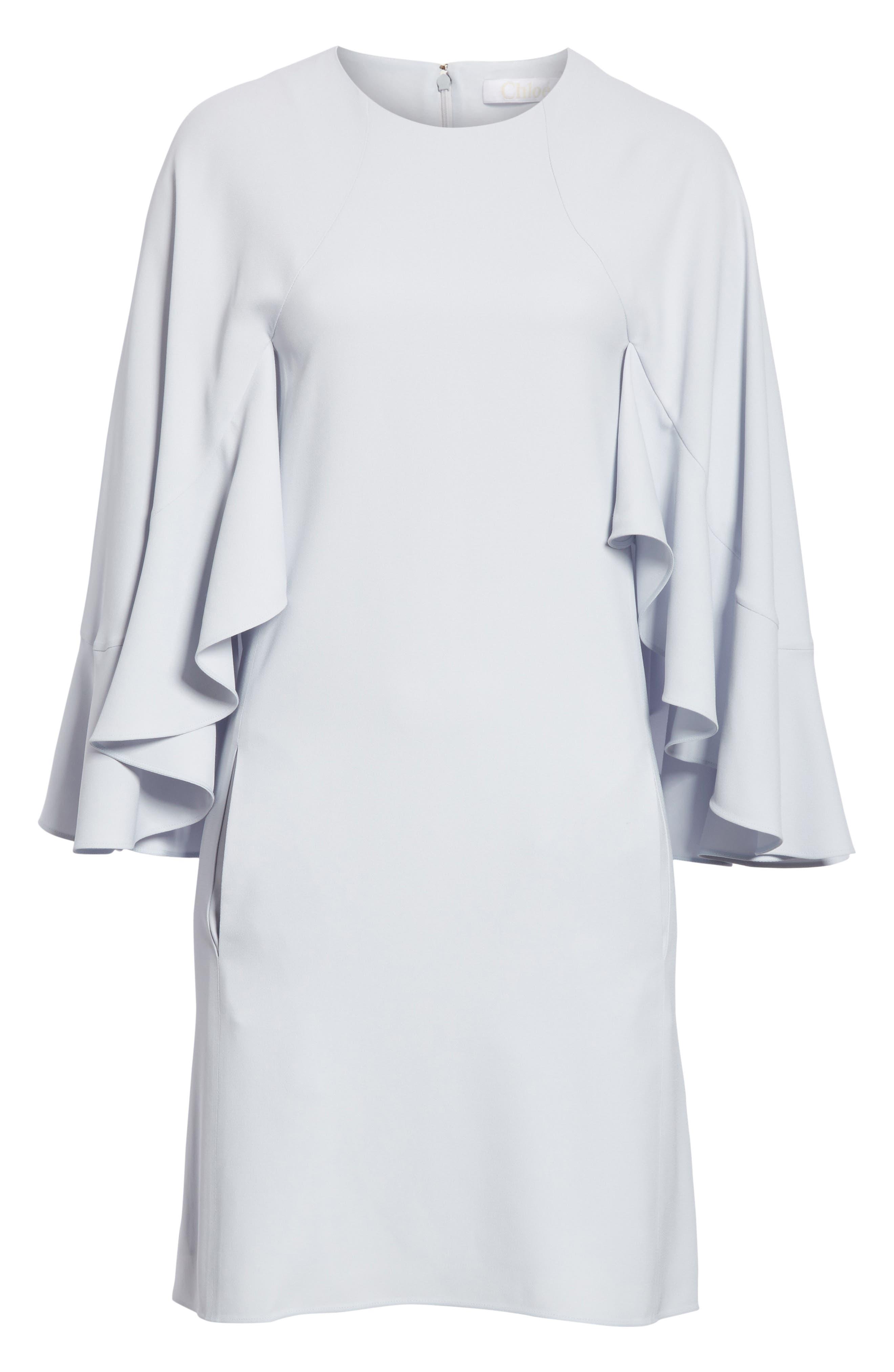 Flutter Sleece Cady Shift Dress,                             Alternate thumbnail 7, color,                             Cute Blue