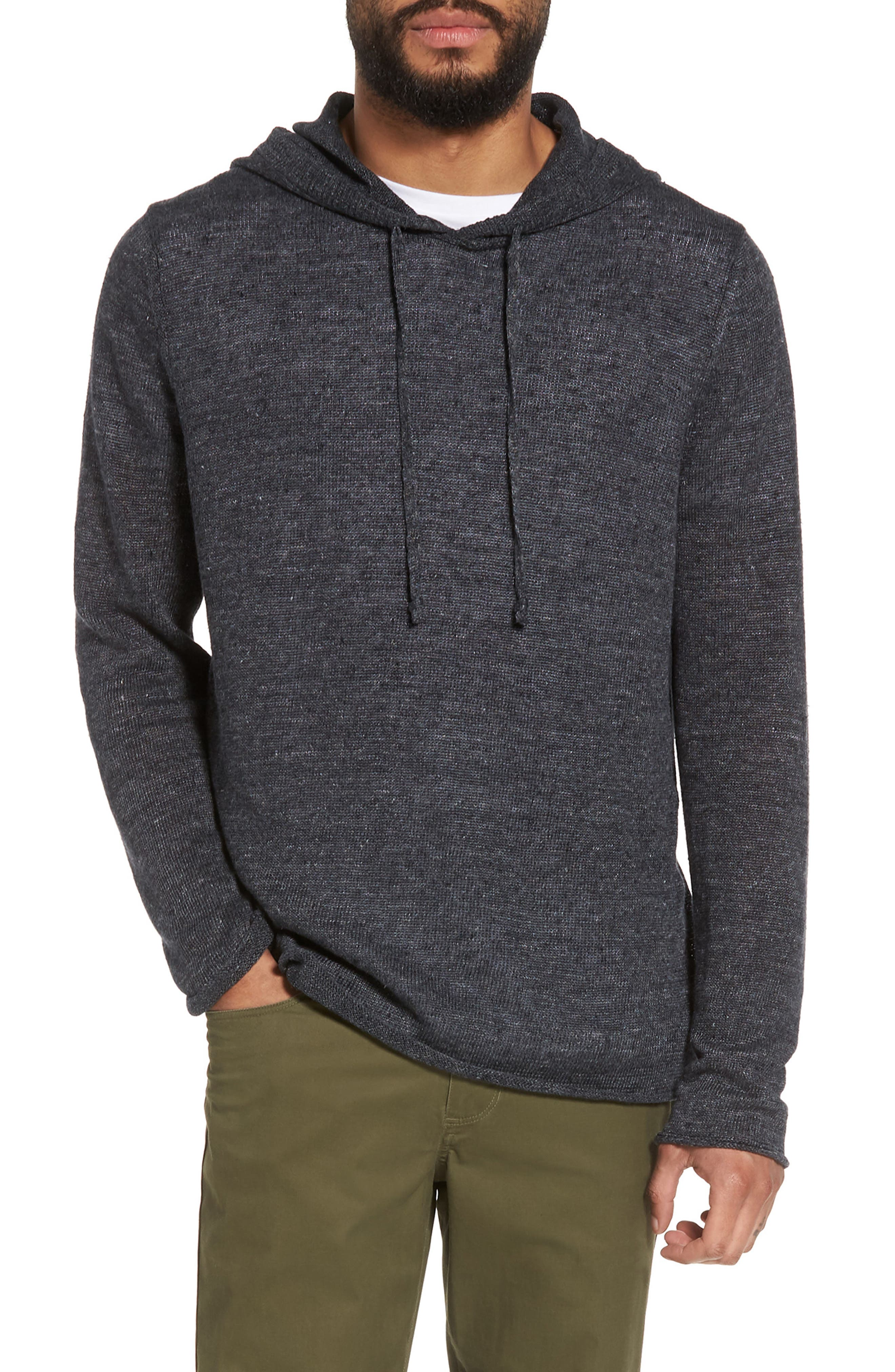 Slim Fit Linen Pullover Hoodie,                             Main thumbnail 1, color,                             Black