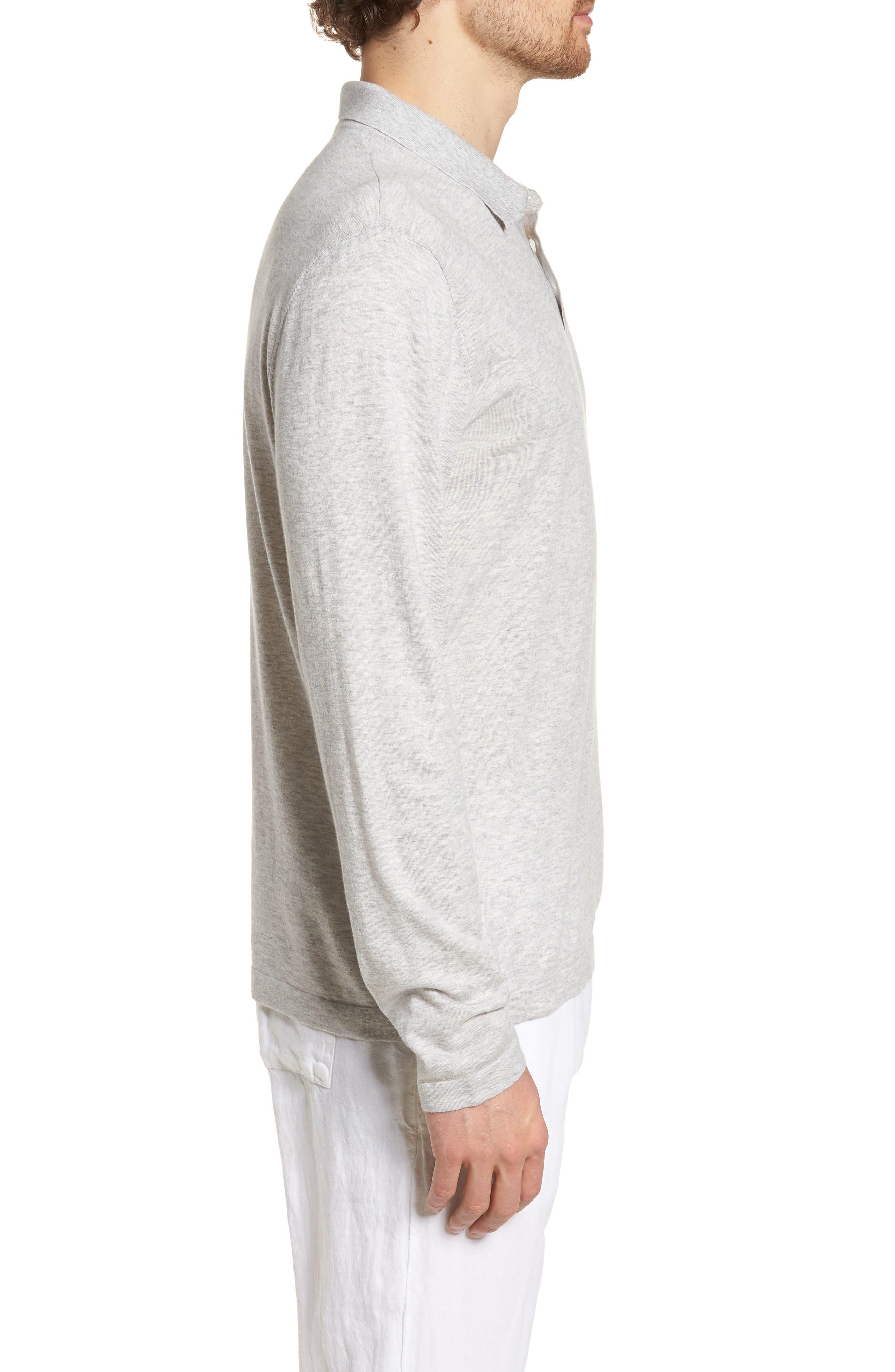 Fine Gauge Regular Fit Cotton Polo,                             Alternate thumbnail 3, color,                             Platinum