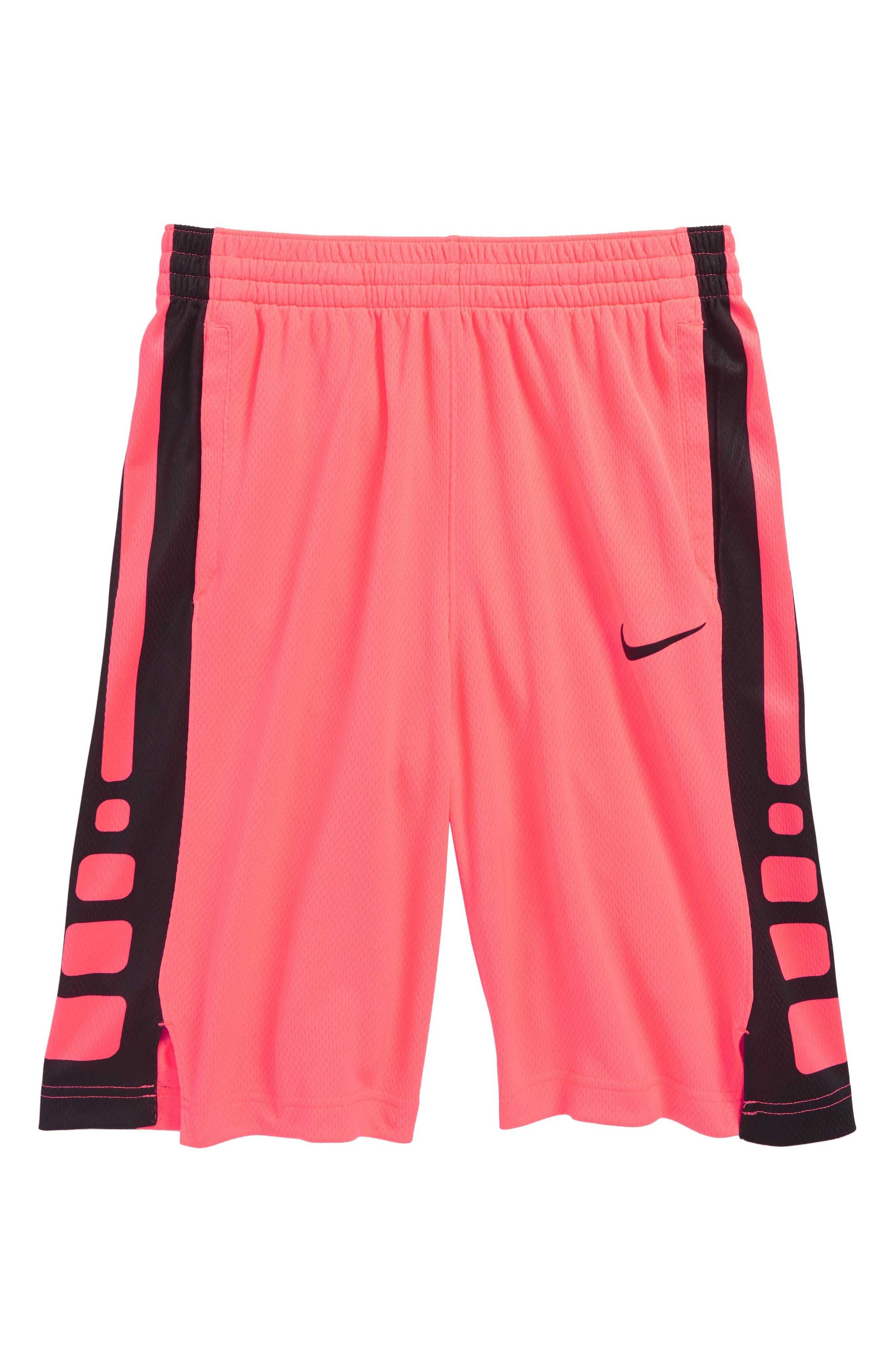 Dry Elite Basketball Shorts,                         Main,                         color, Hot Punch/ Black