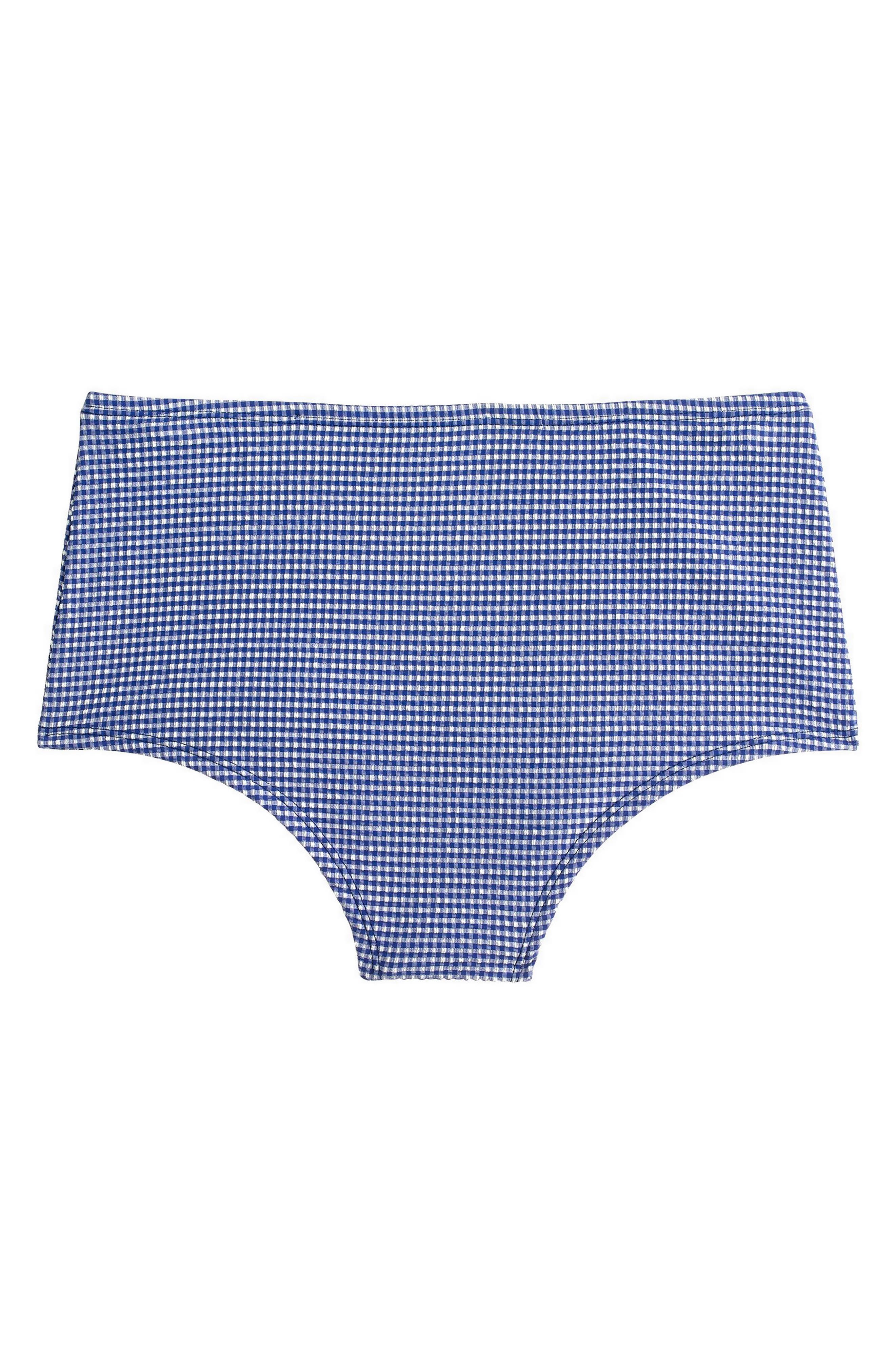J.Crew High Waist Bikini Bottoms,                             Alternate thumbnail 5, color,                             Blue
