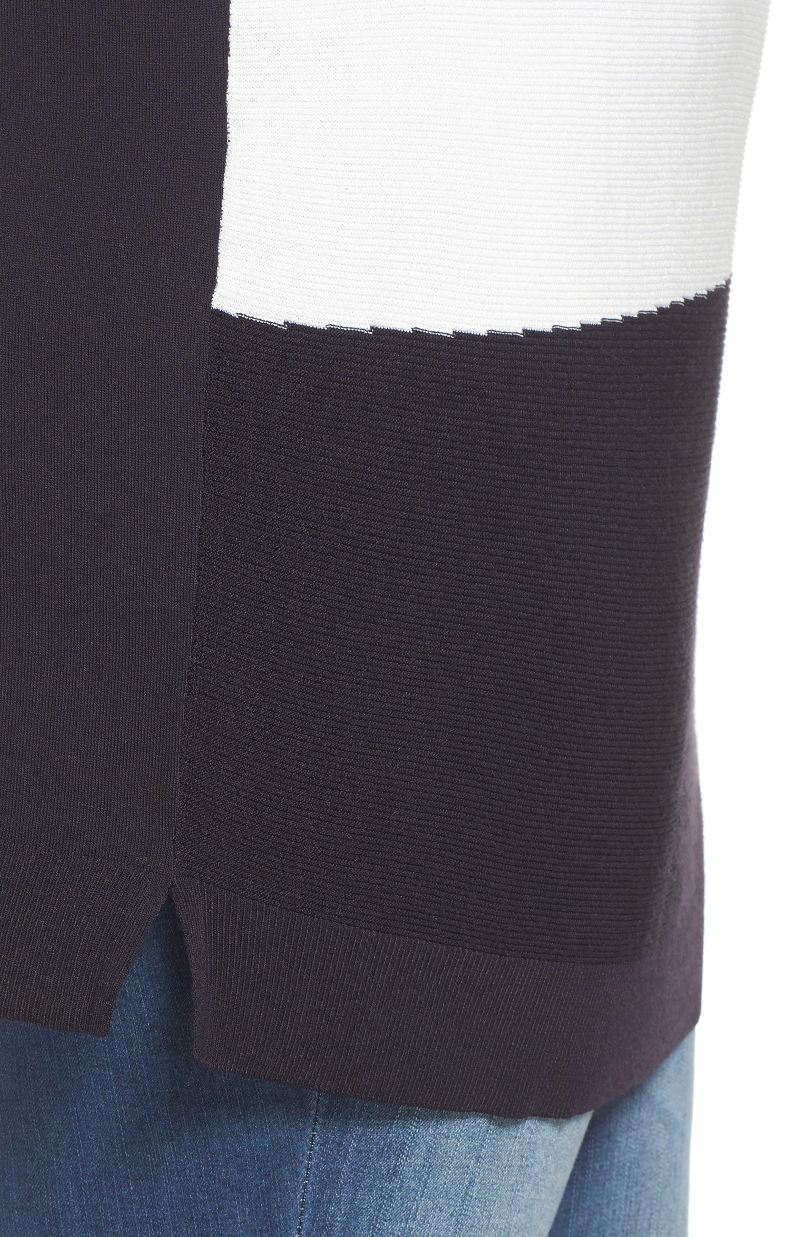 Color Block Sweater,                             Alternate thumbnail 4, color,                             Dark Navy