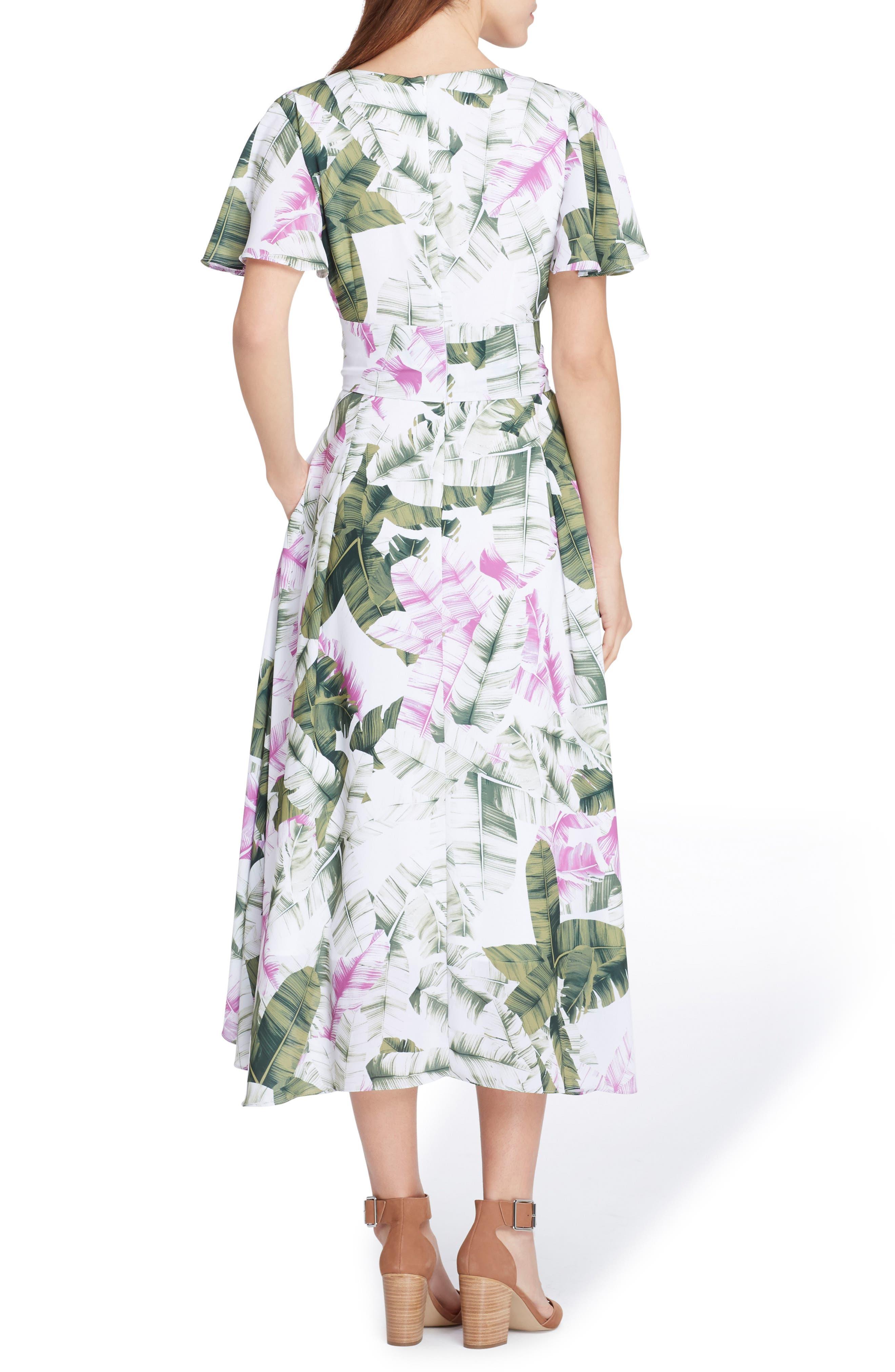 Palm Print High/Low Midi Dress,                             Alternate thumbnail 2, color,                             White/ Lavender/ Vine