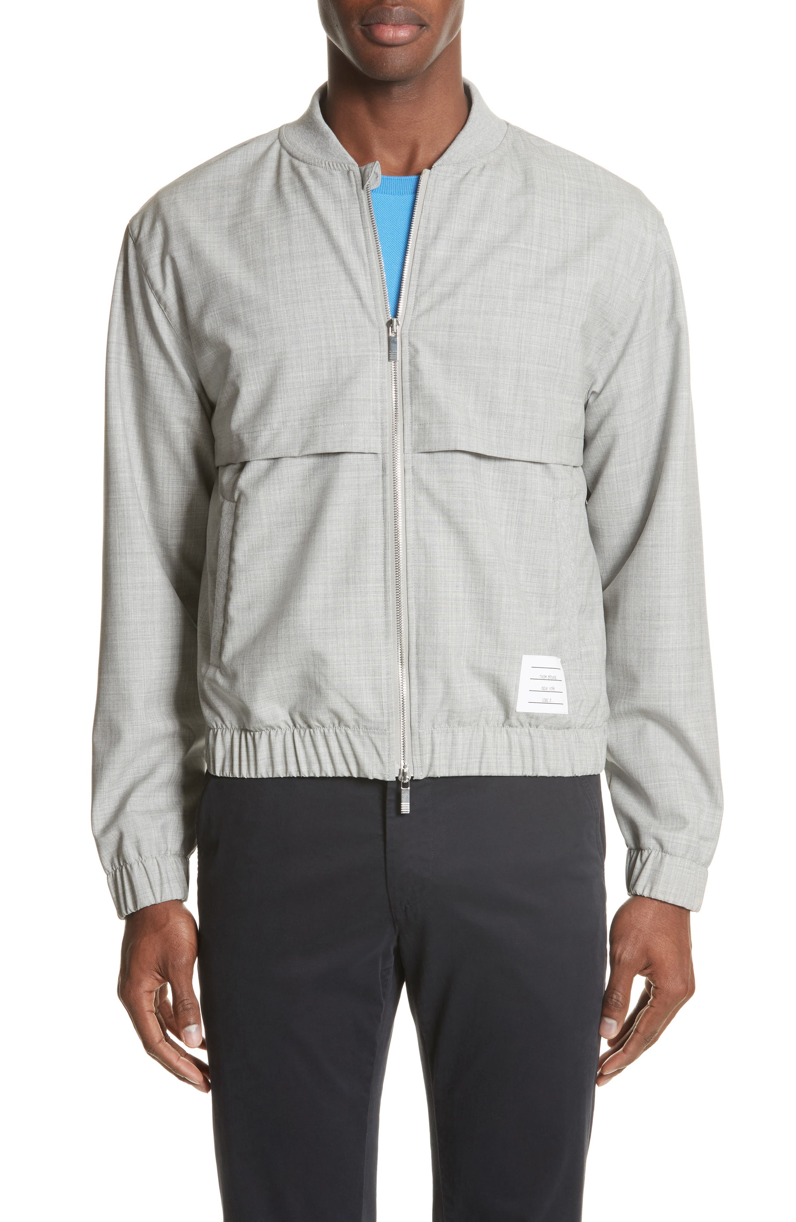 Lightweight Wool Bomber Jacket,                             Main thumbnail 1, color,                             Light Grey