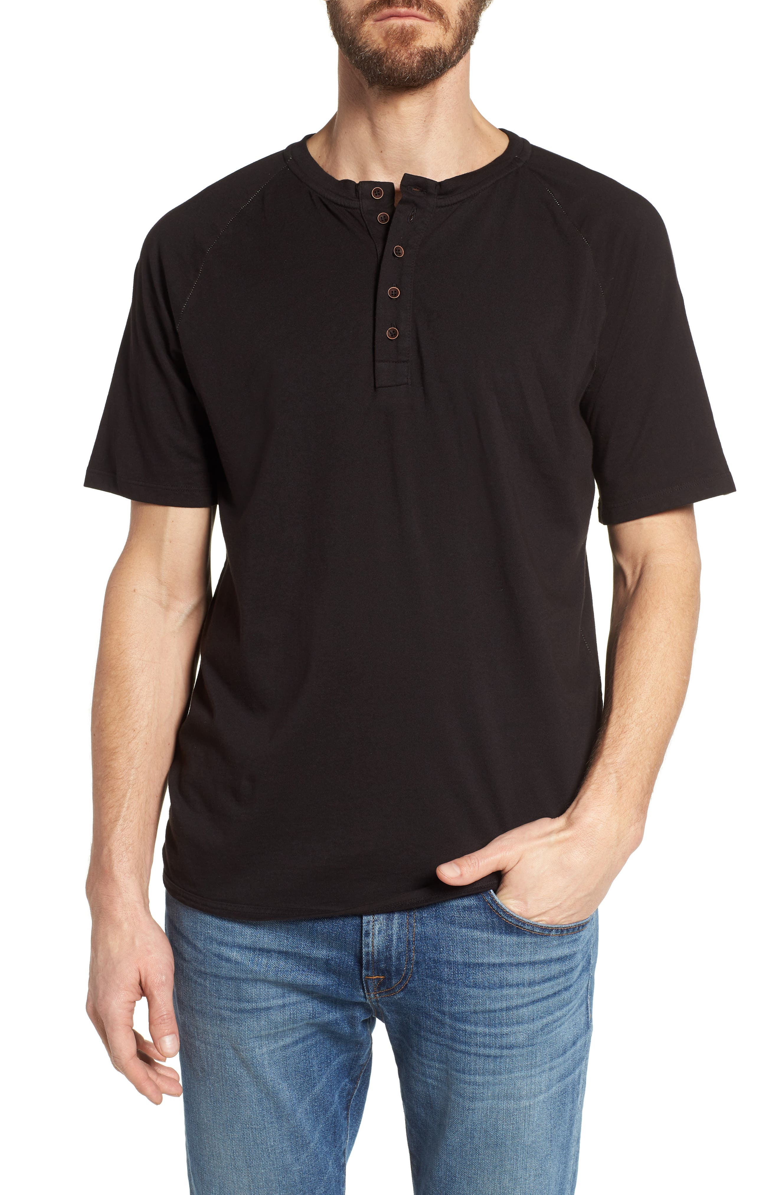 Short Sleeve Henley,                         Main,                         color, Black
