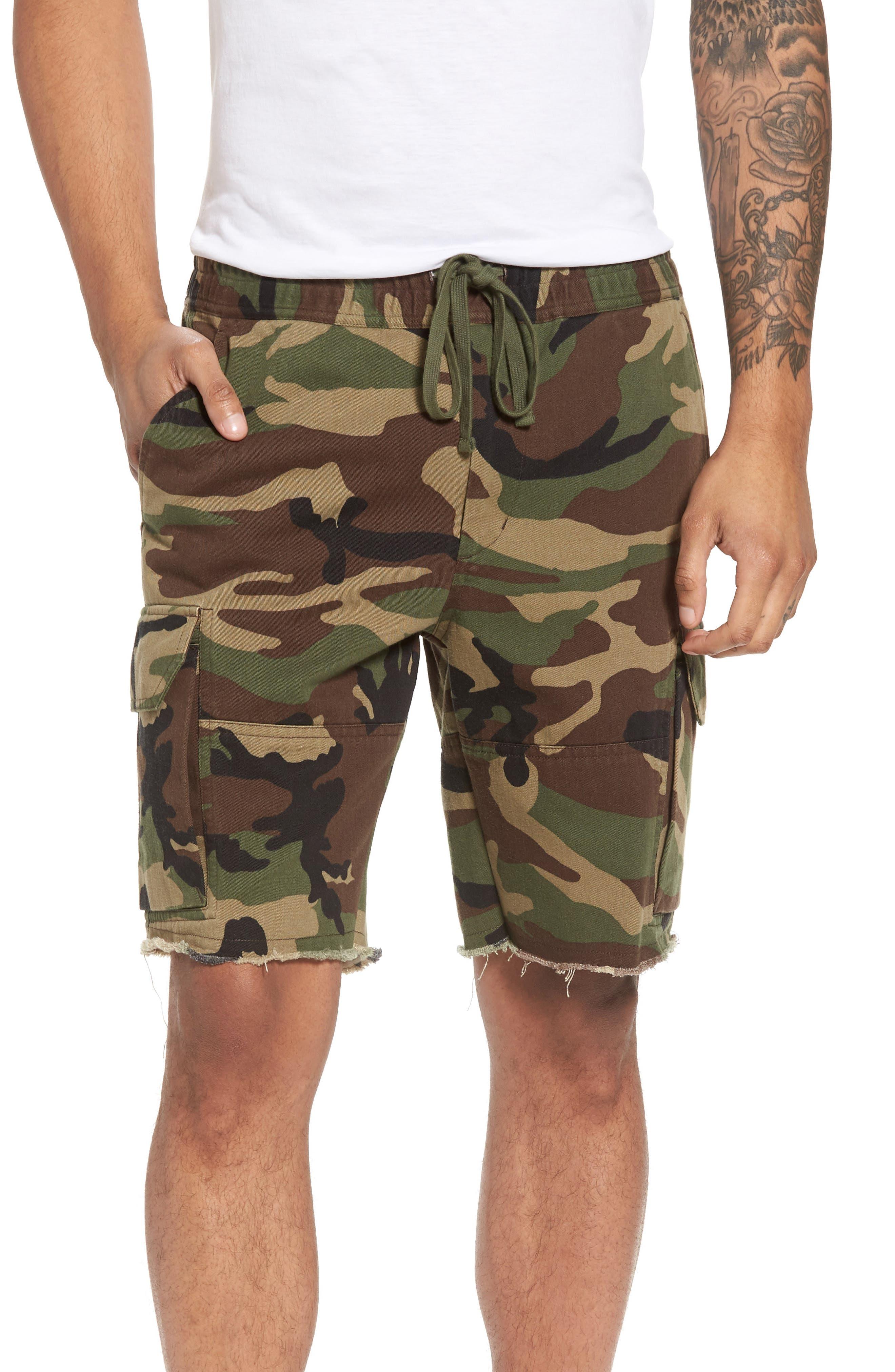 Slim Fit Cargo Shorts,                         Main,                         color, Camo