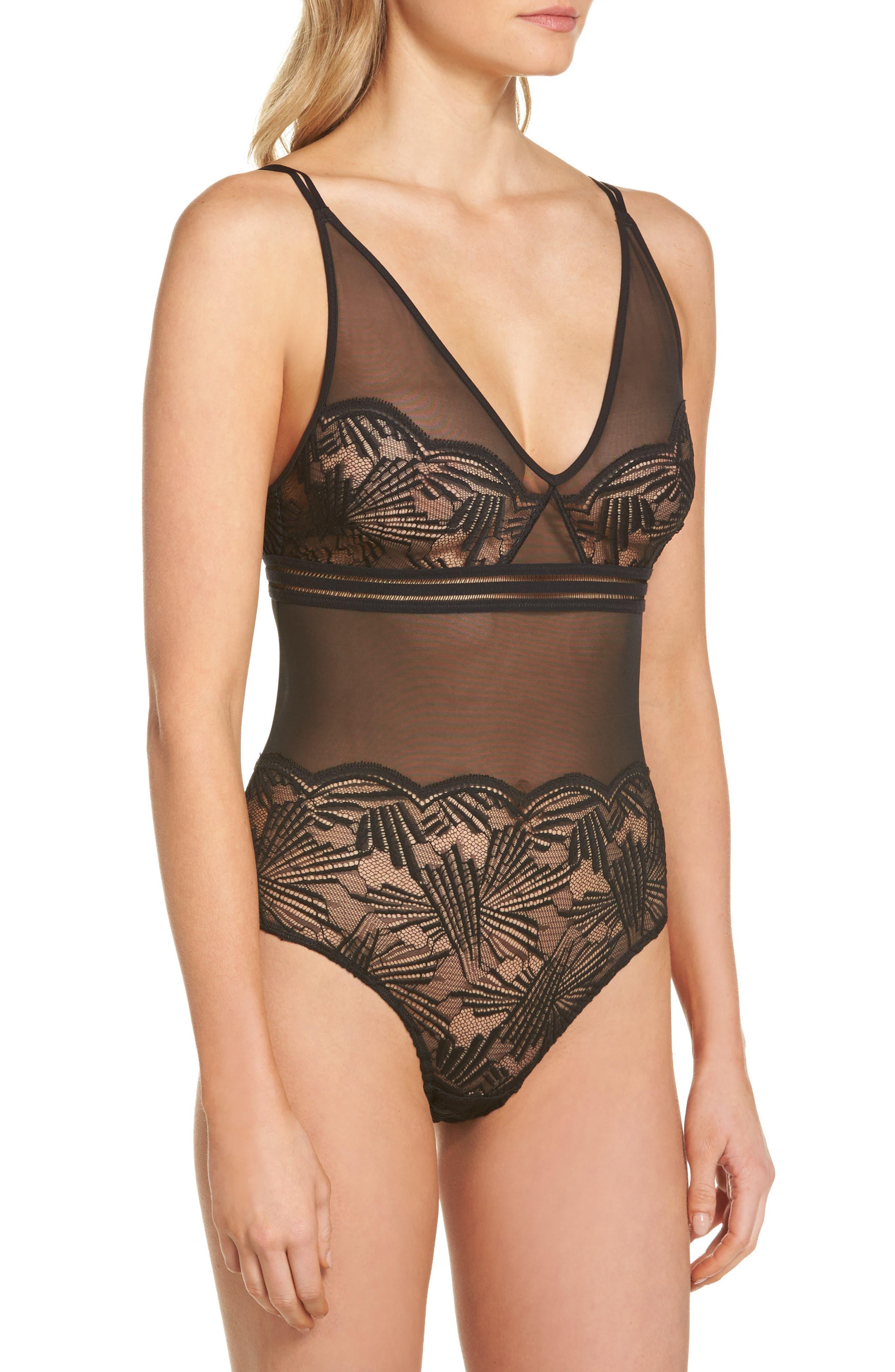 PF Slipcover Bodysuit,                             Alternate thumbnail 4, color,                             Black