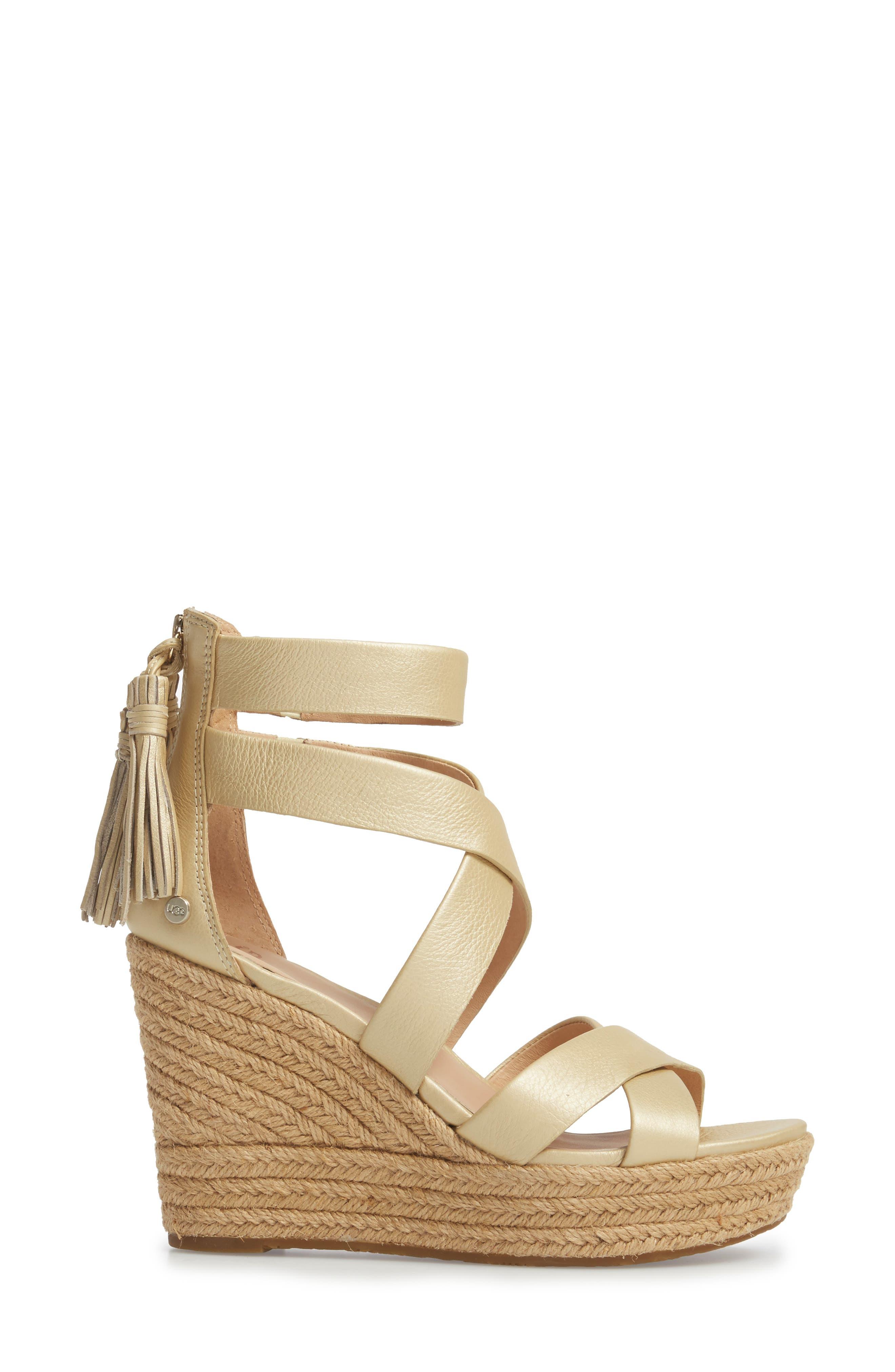 Raquel Platform Wedge Sandal,                             Alternate thumbnail 3, color,                             Soft Gold Leather