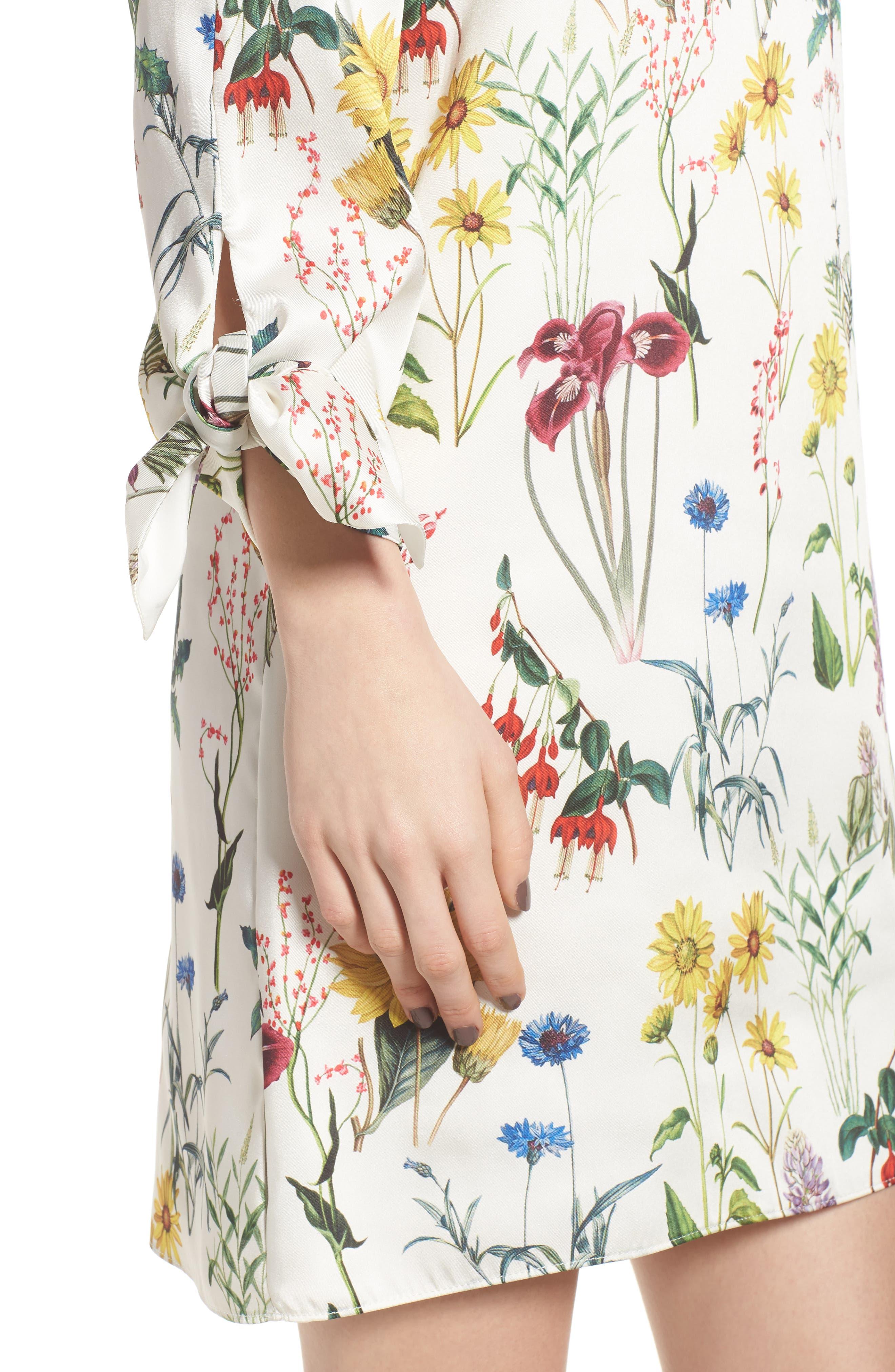 Botanical Off the Shoulder Shift Dress,                             Alternate thumbnail 4, color,                             Botanical Print/ Chalk