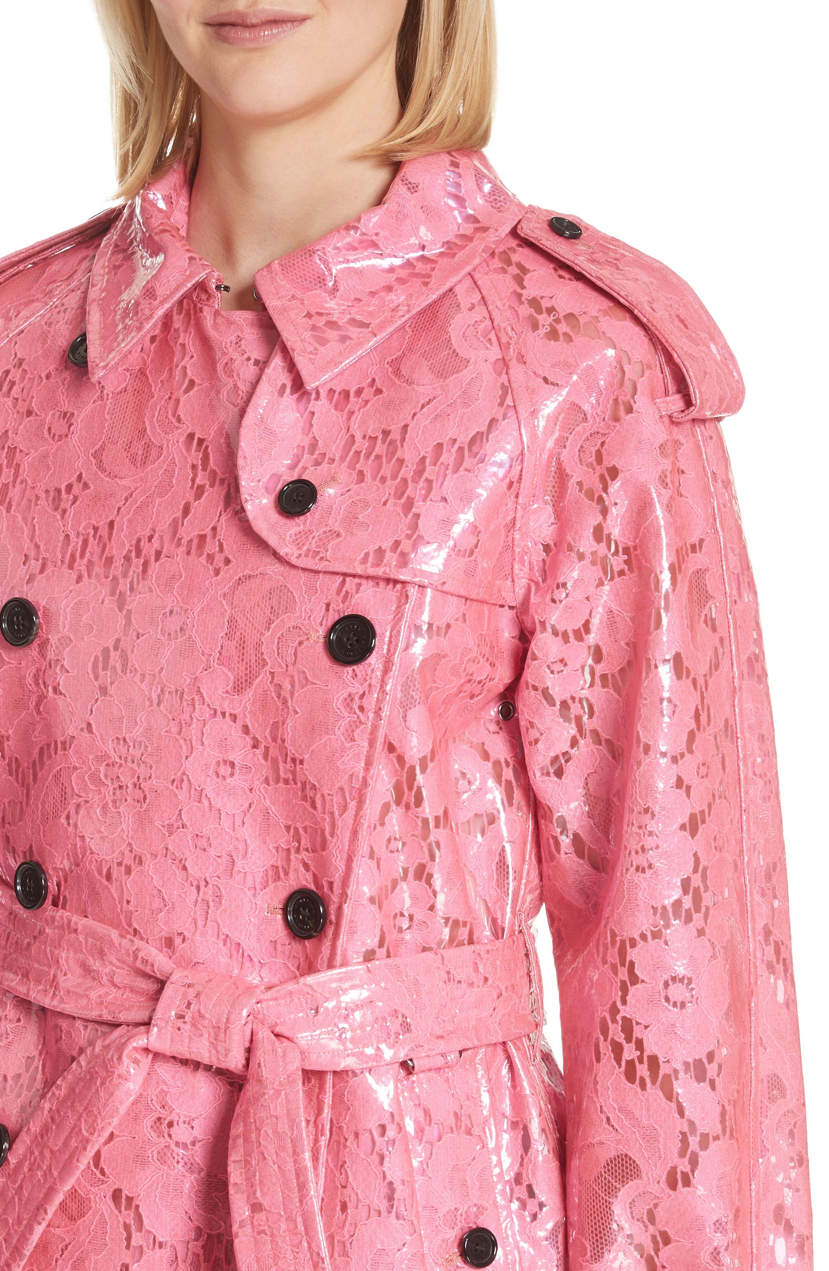Eastheath Coated Lace Trench Coat,                             Alternate thumbnail 4, color,                             Bright Pink