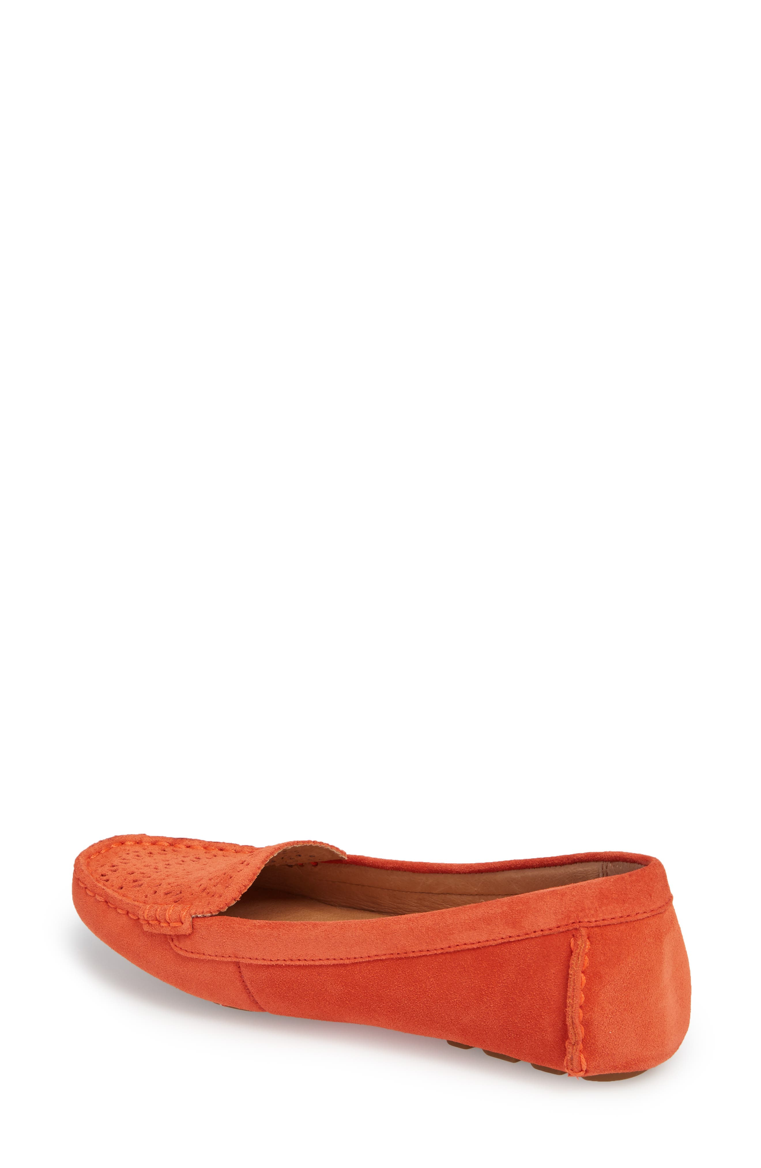 Clair Flat,                             Alternate thumbnail 2, color,                             Red Orange Suede