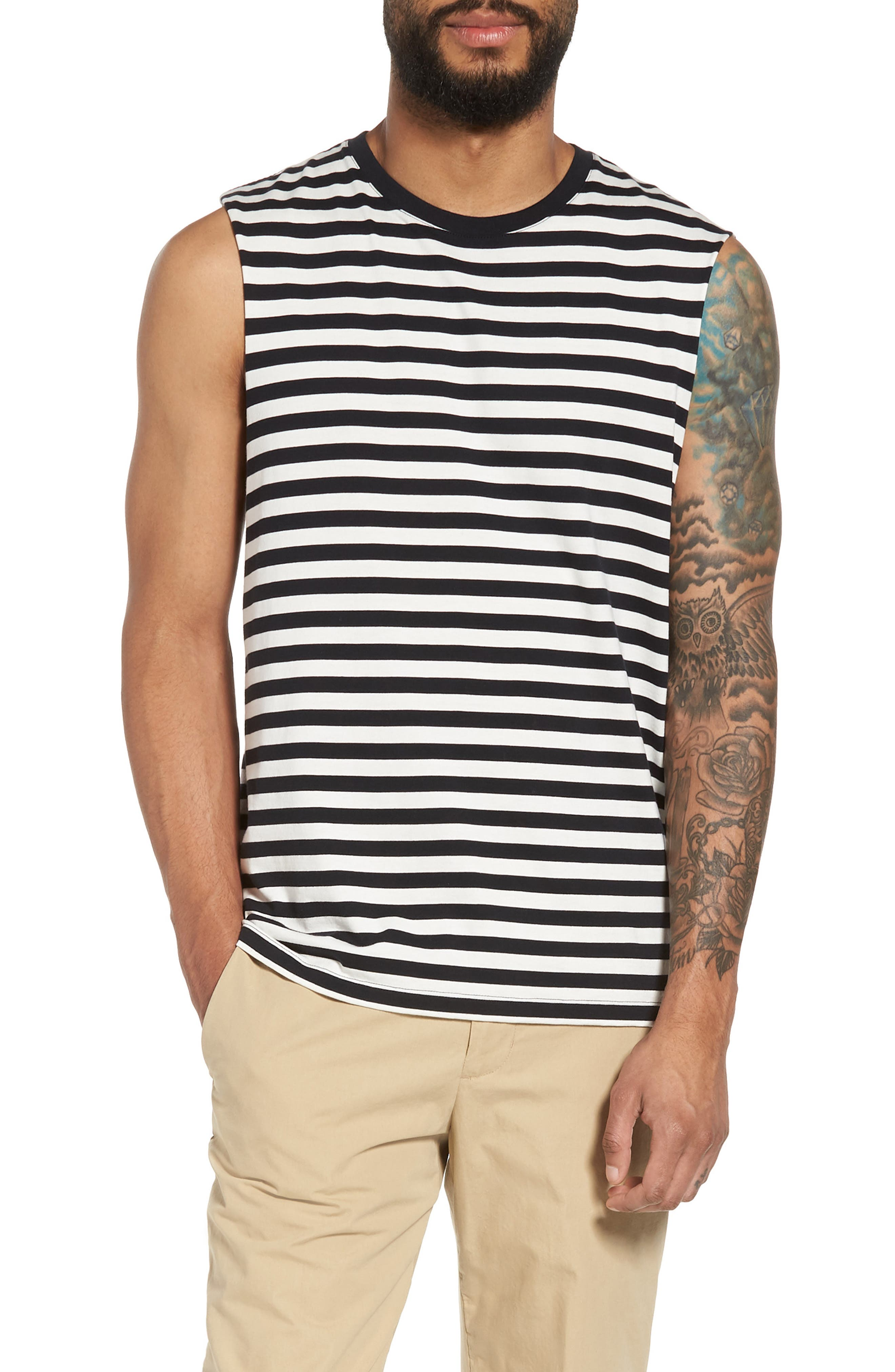 Slim Fit Stripe Tank,                             Main thumbnail 1, color,                             New Coastal/ Leche