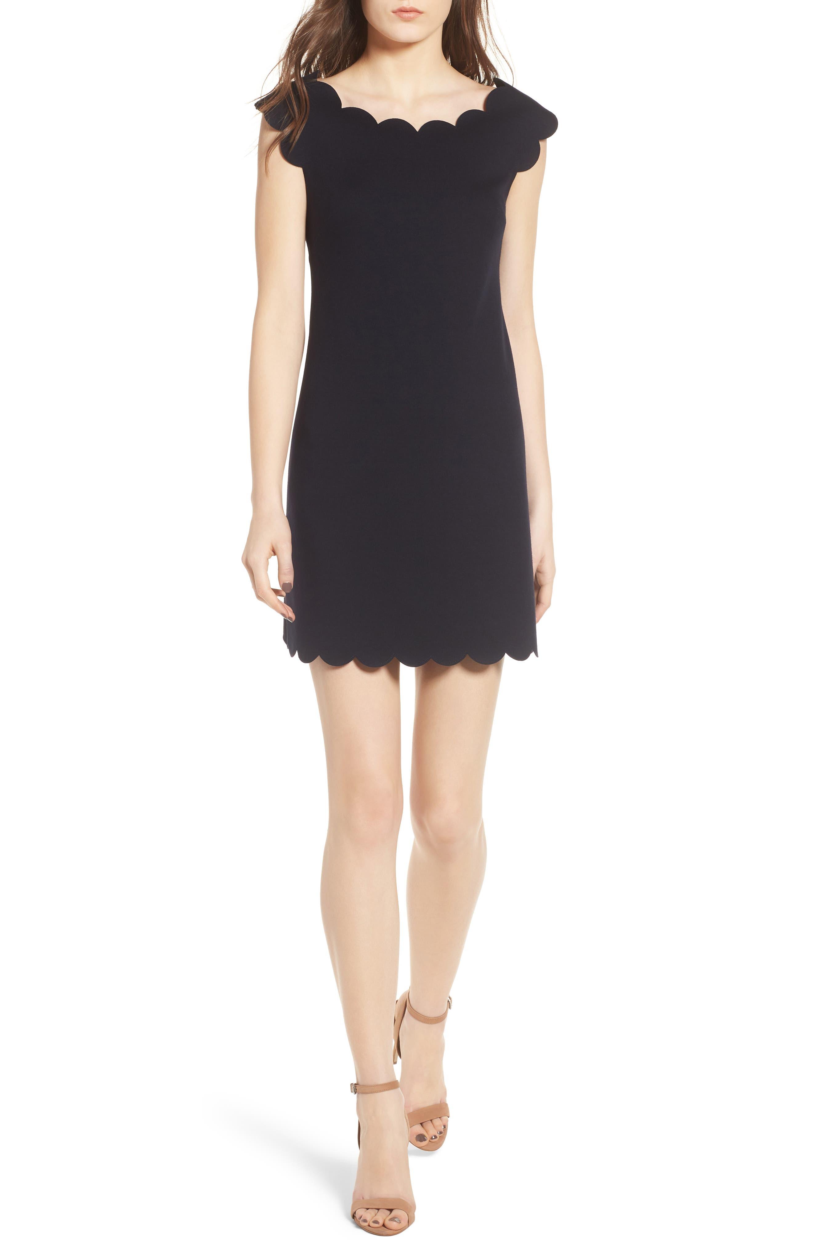 Petal Scalloped A-Line Dress,                             Main thumbnail 1, color,                             Midnight