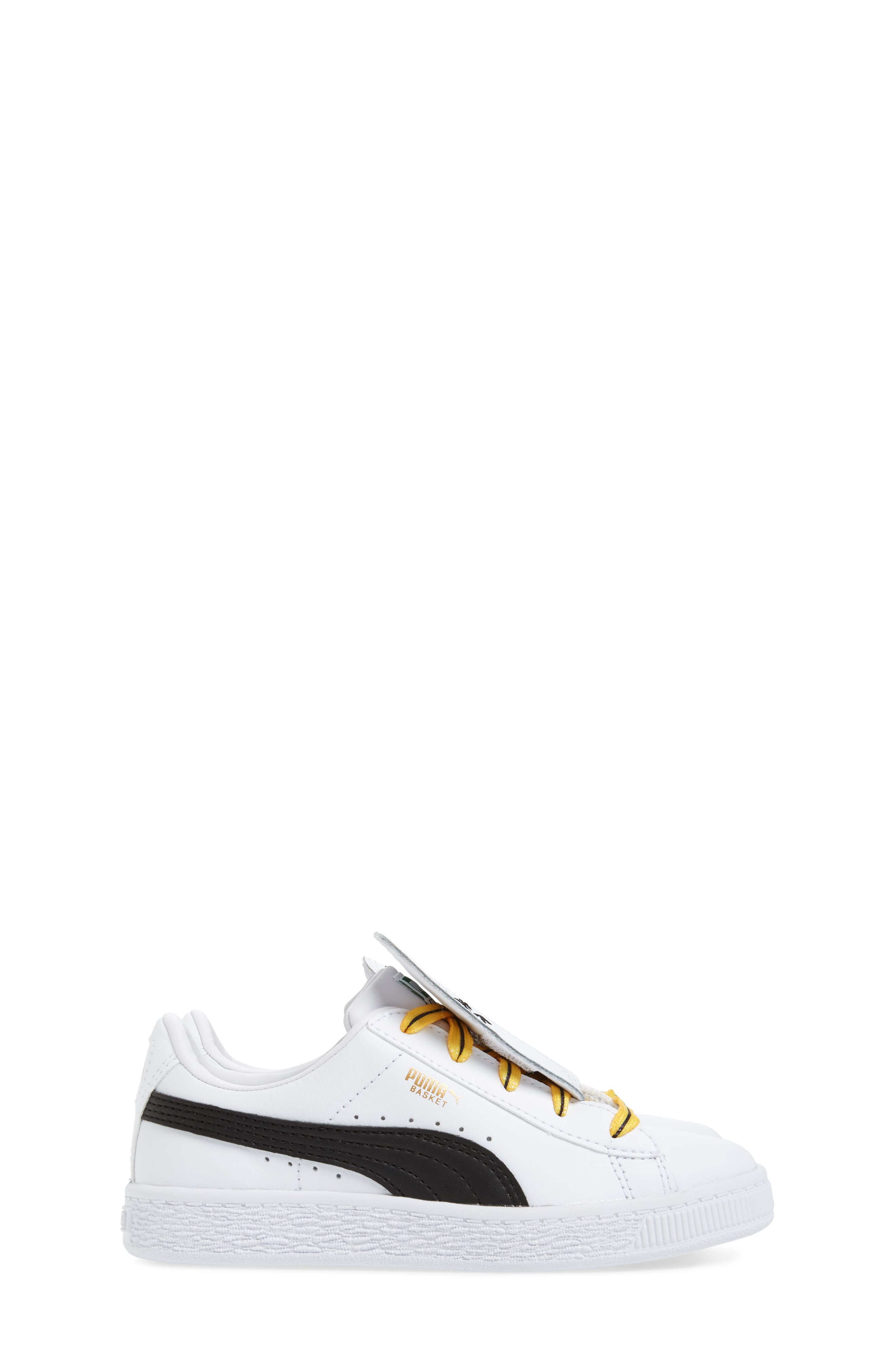 x Minions Basket Embroidered Tongue Sneaker,                             Alternate thumbnail 4, color,                             White/ Black/ Minion Yellow