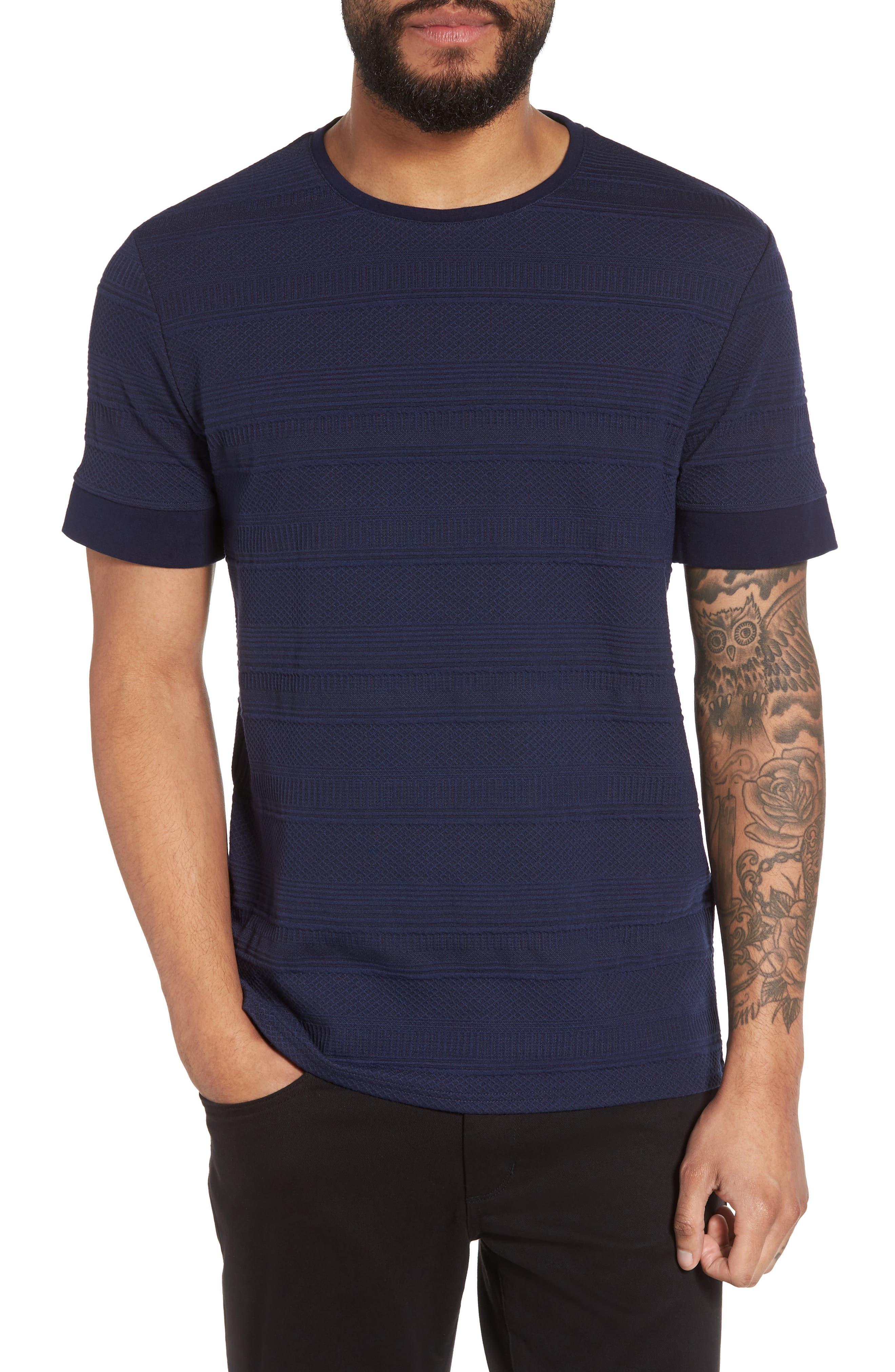 Banded Cuff Crewneck T-Shirt,                         Main,                         color, Navy/Black