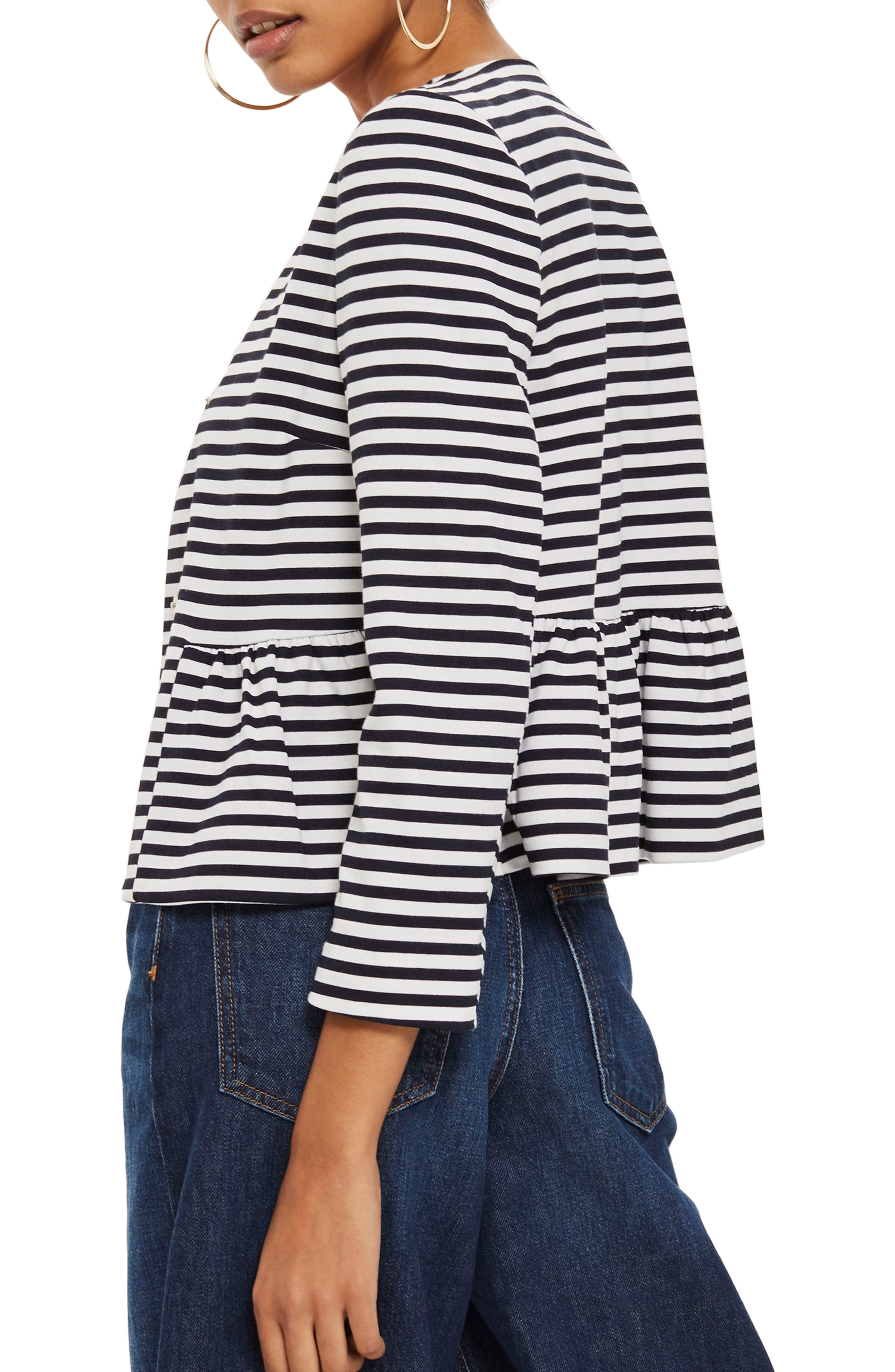Stripe Crop Jersey Jacket,                             Alternate thumbnail 2, color,                             Navy Blue Multi