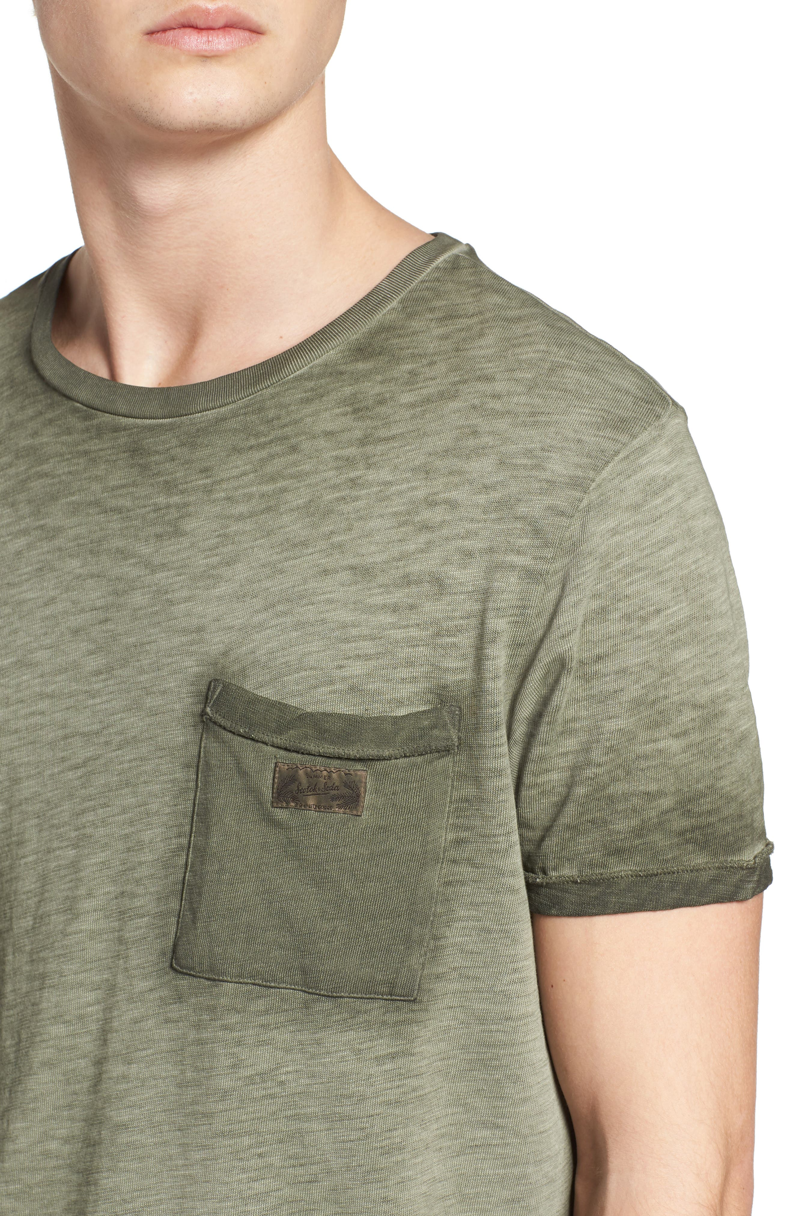 Oil Washed T-Shirt,                             Alternate thumbnail 4, color,                             Army
