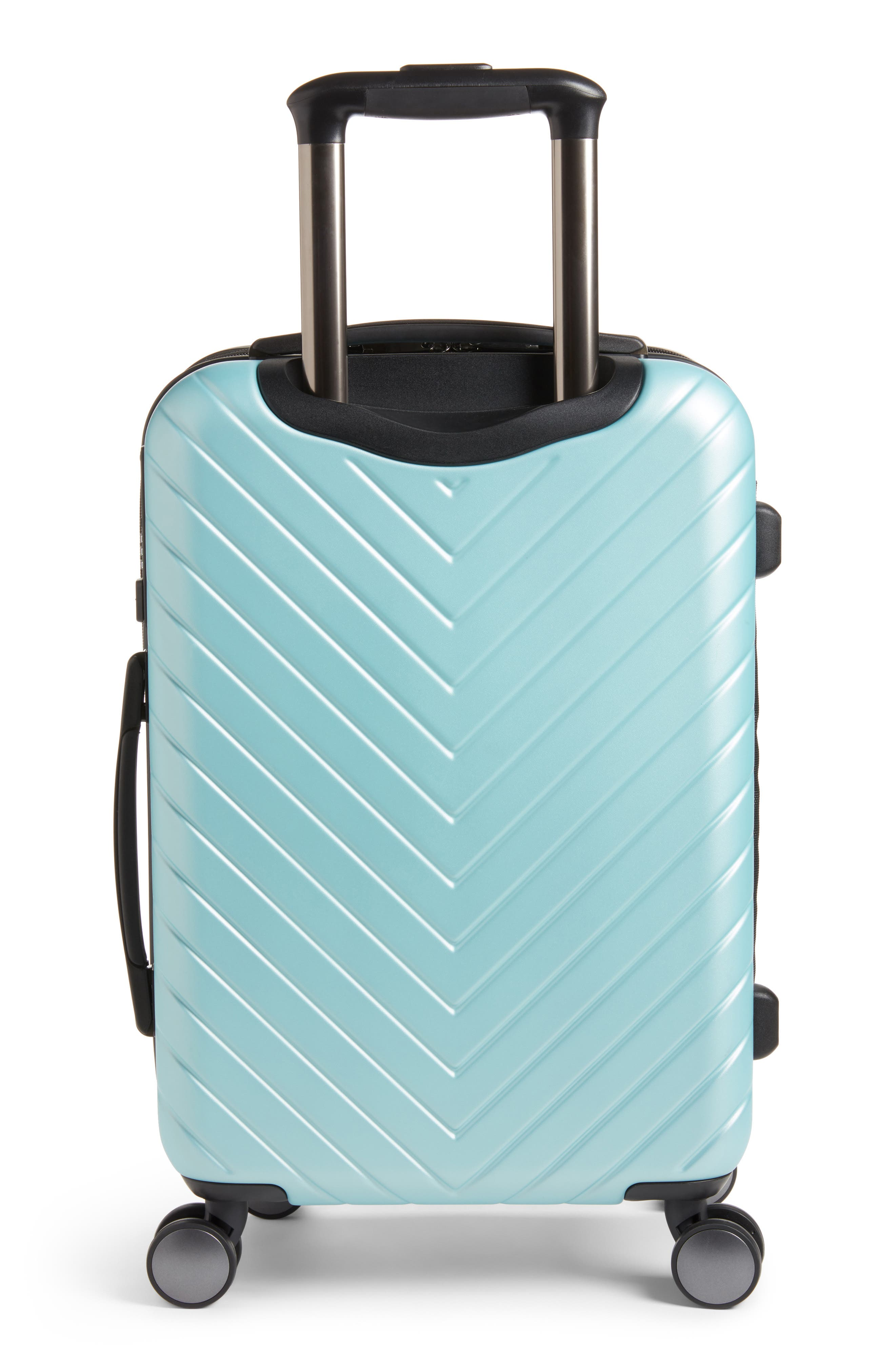 Chevron 20-Inch Spinner Carry-On,                             Alternate thumbnail 3, color,                             Teal Surf