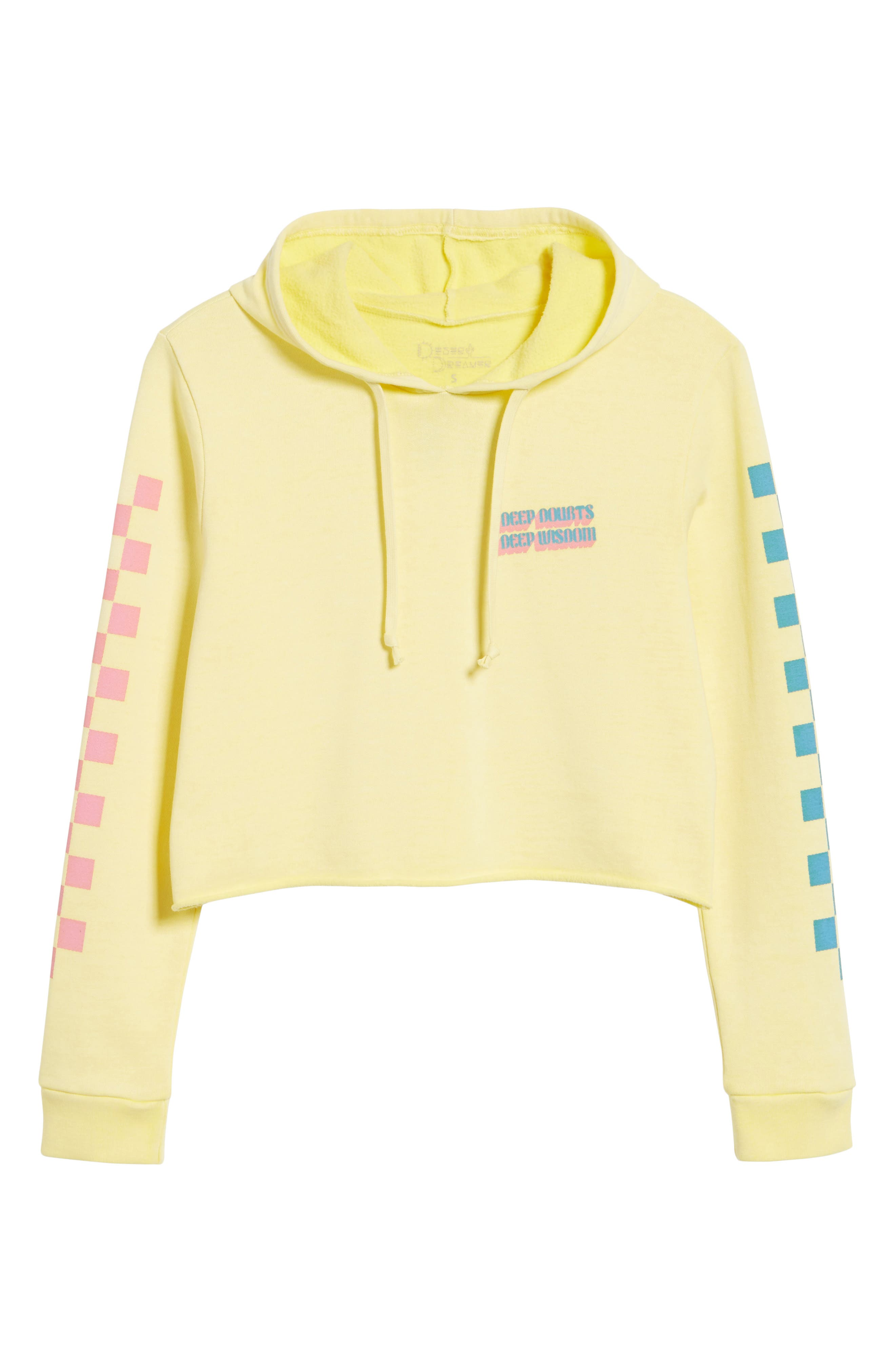Deep Doubts Crop Hoodie,                             Alternate thumbnail 7, color,                             Washed Gold