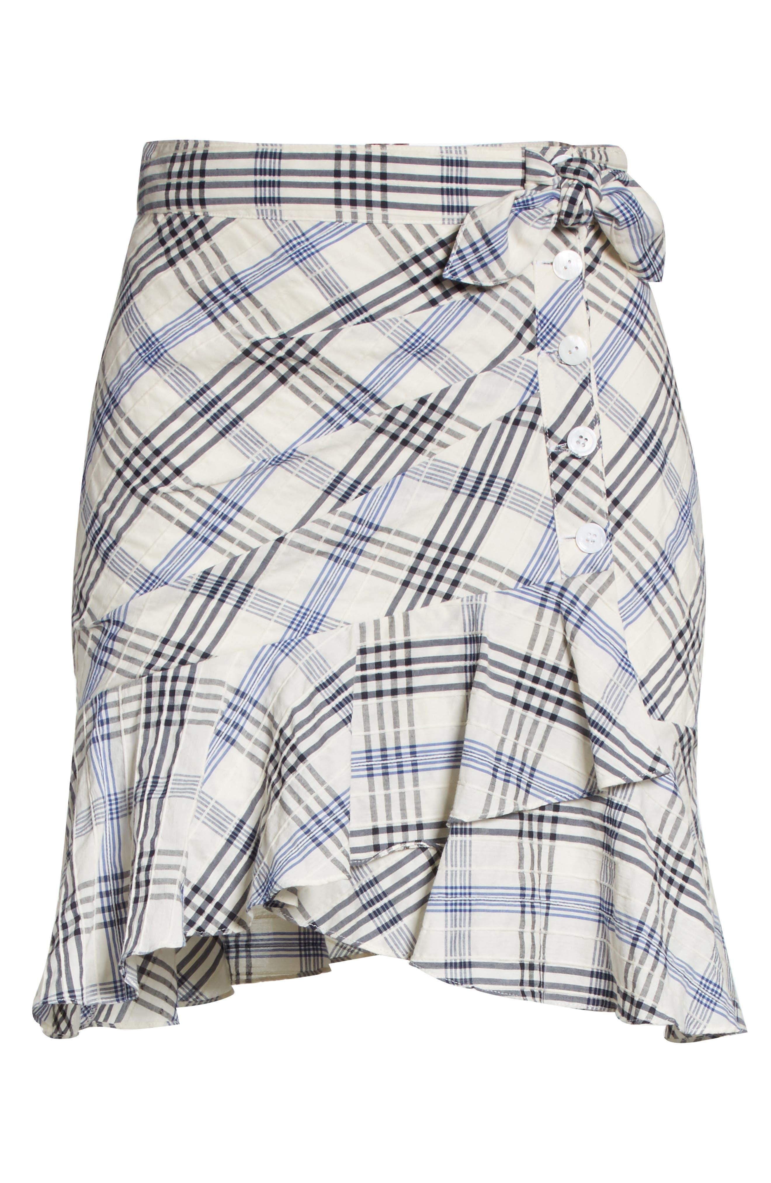 Kaia Check Ruffle Skirt,                             Alternate thumbnail 7, color,                             Blue