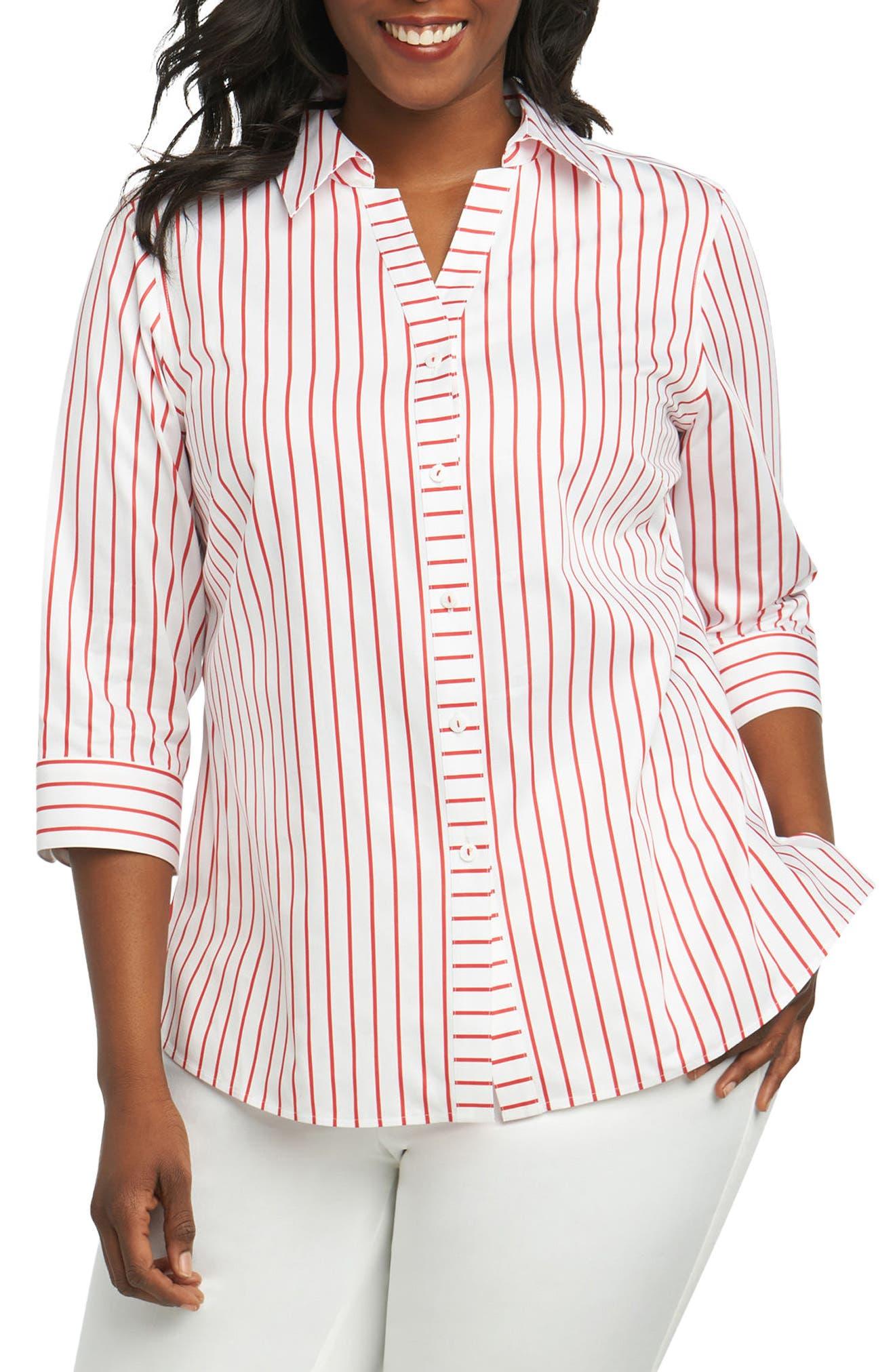 Main Image - Foxcroft Clio Sateen Stripe Shirt (Plus Size)